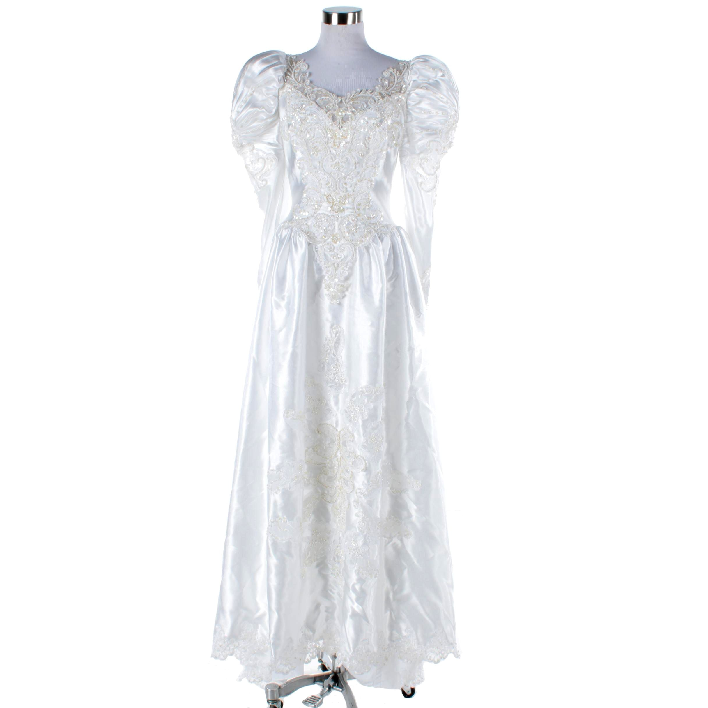 Circa 1980s Bonny White Beaded Wedding Dress with Cathedral Train