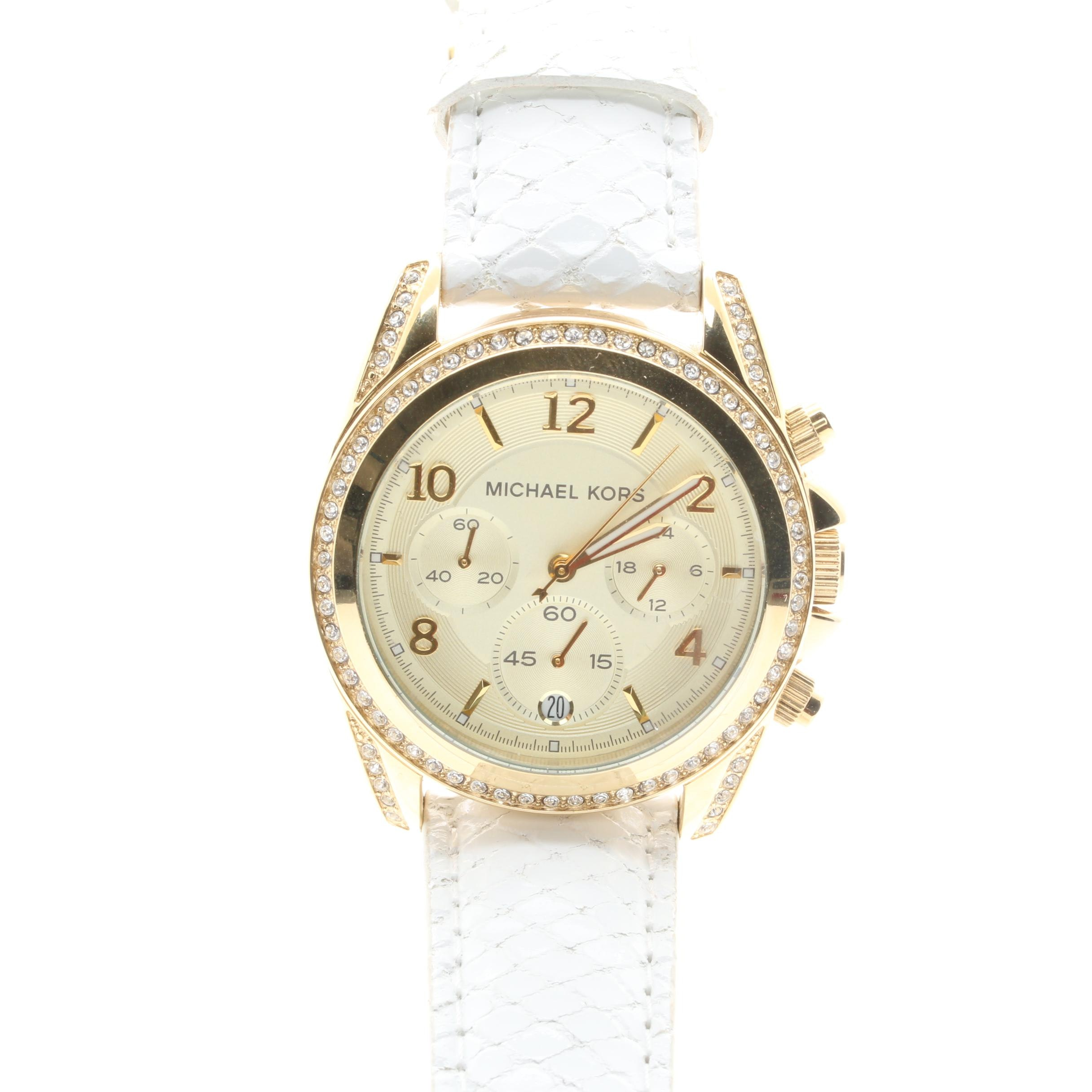 Michael Kors Gold Tone and Crystal Accented Wristwatch