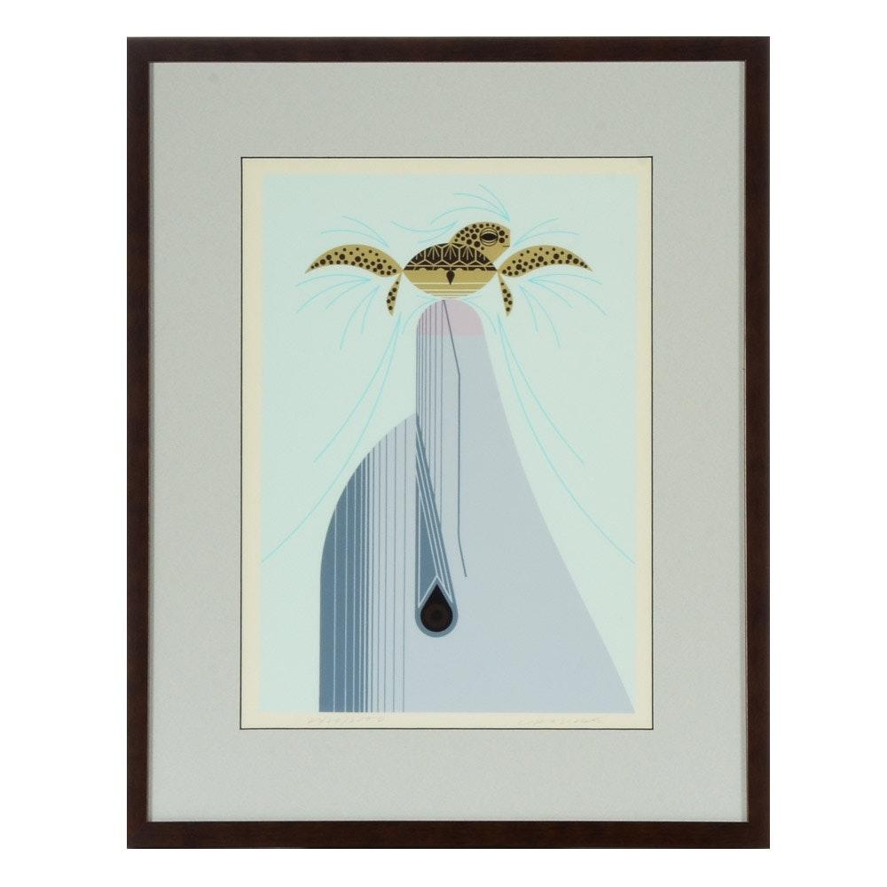 "Charley Harper Vintage Limited Edition Serigraph ""Dolfun"""