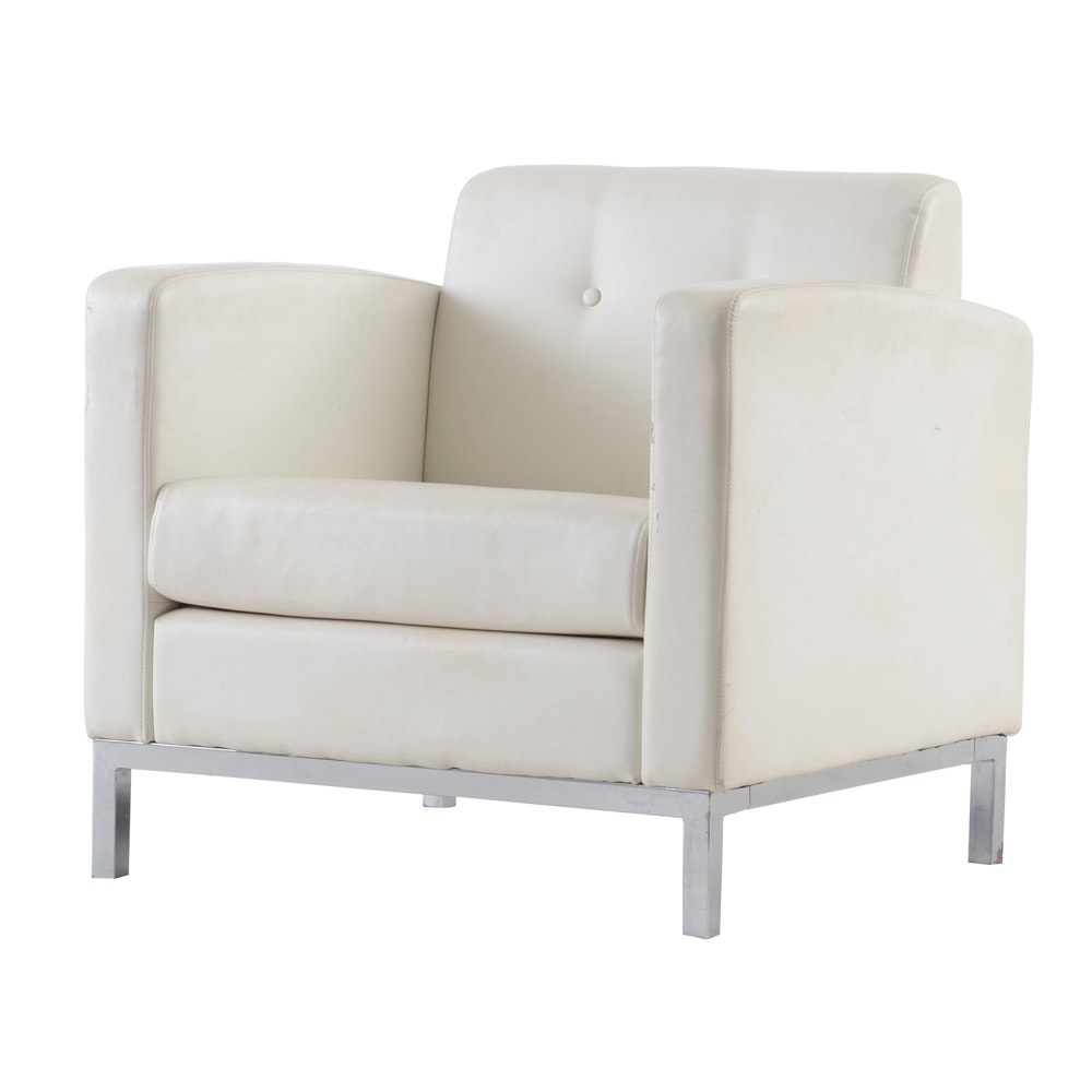 Mid Century Modern Style White Leather Club Chair