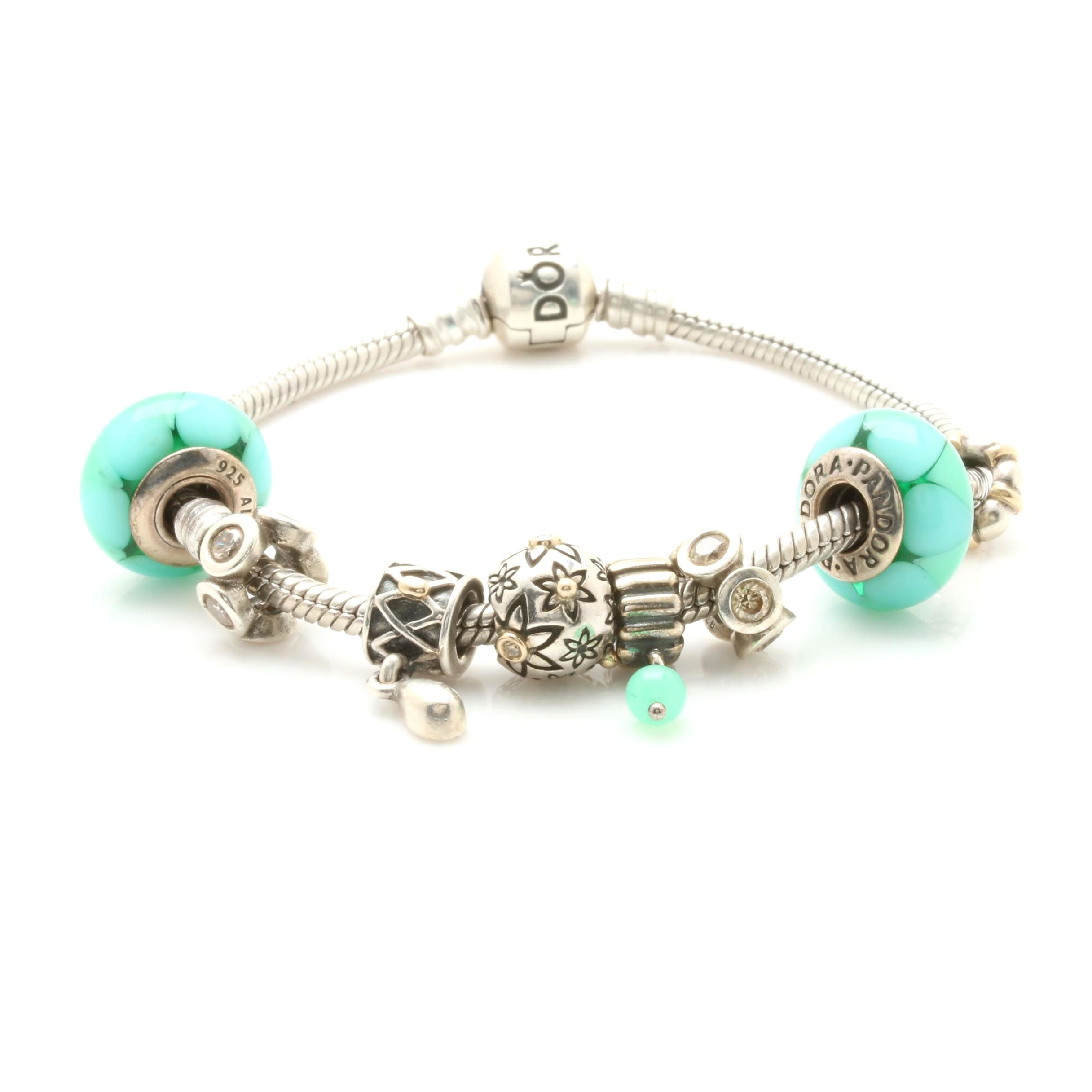 Pandora Sterling Silver Charm Bracelet With 14K Gold Accents and Diamonds
