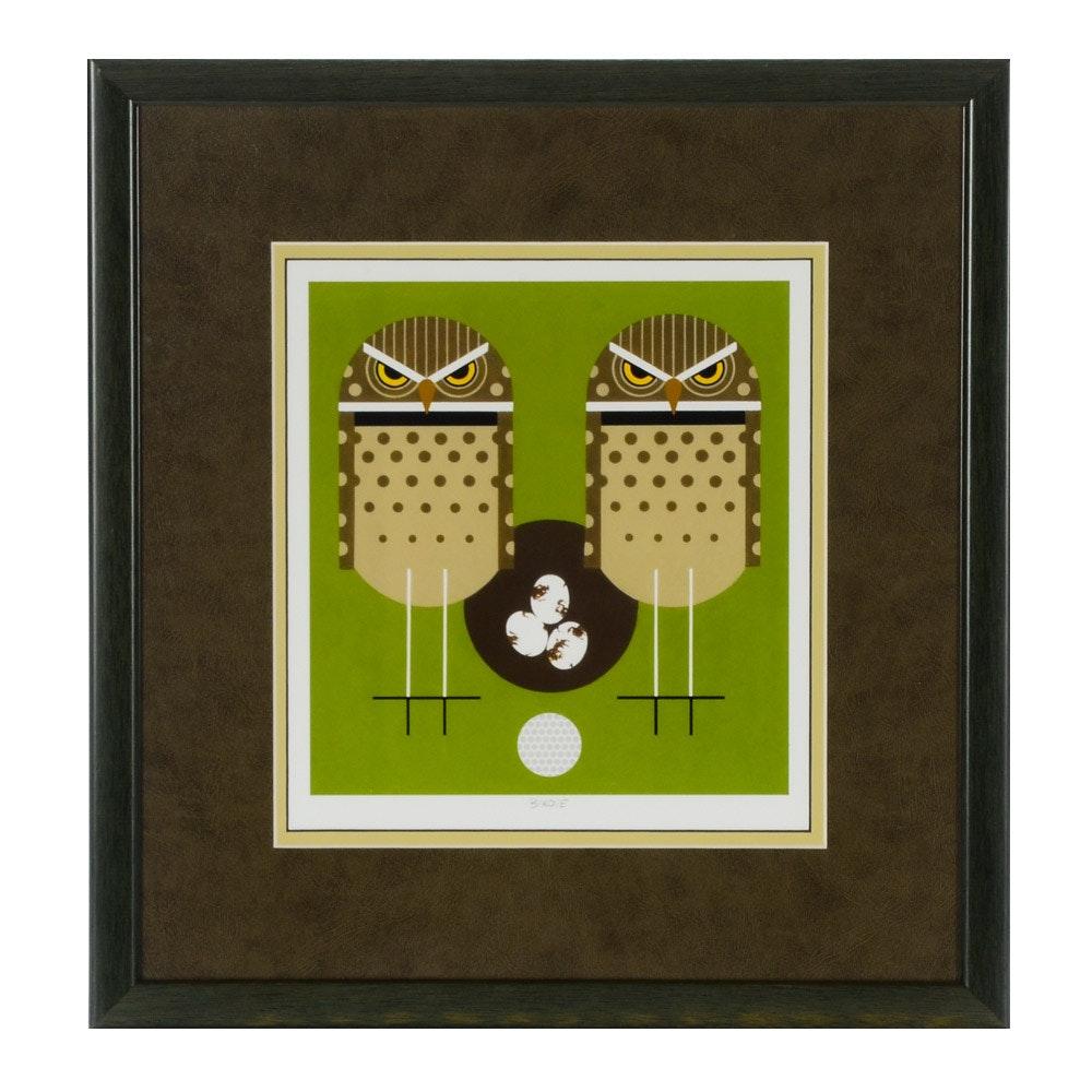 "Charley Harper Offset Lithograph Print ""Birdie"""