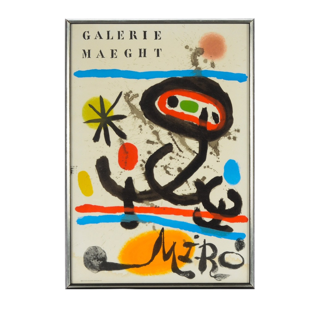 Joan Miró Lithograph Exhibition Poster for Galerie Maeght
