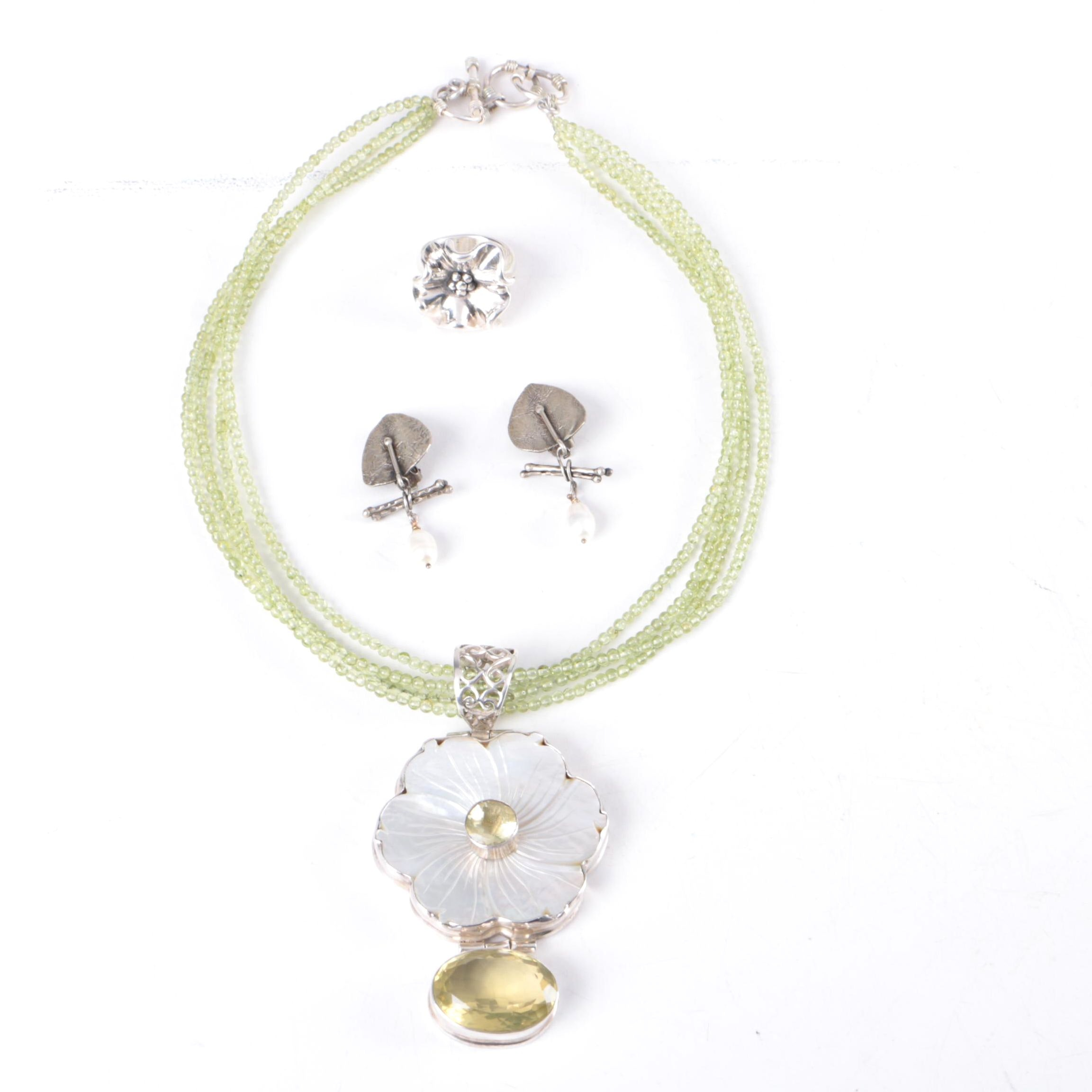 Sterling Silver Jewelry Featuring Lemon Quartz, Peridot, and Cultured Pearl