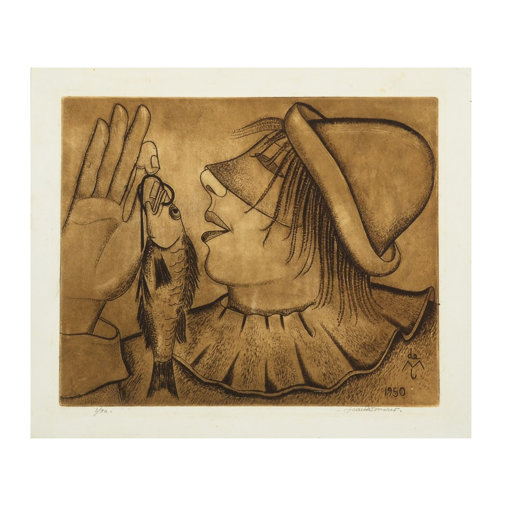 Jeanne Mario Mid-Century Limited Edition Etching