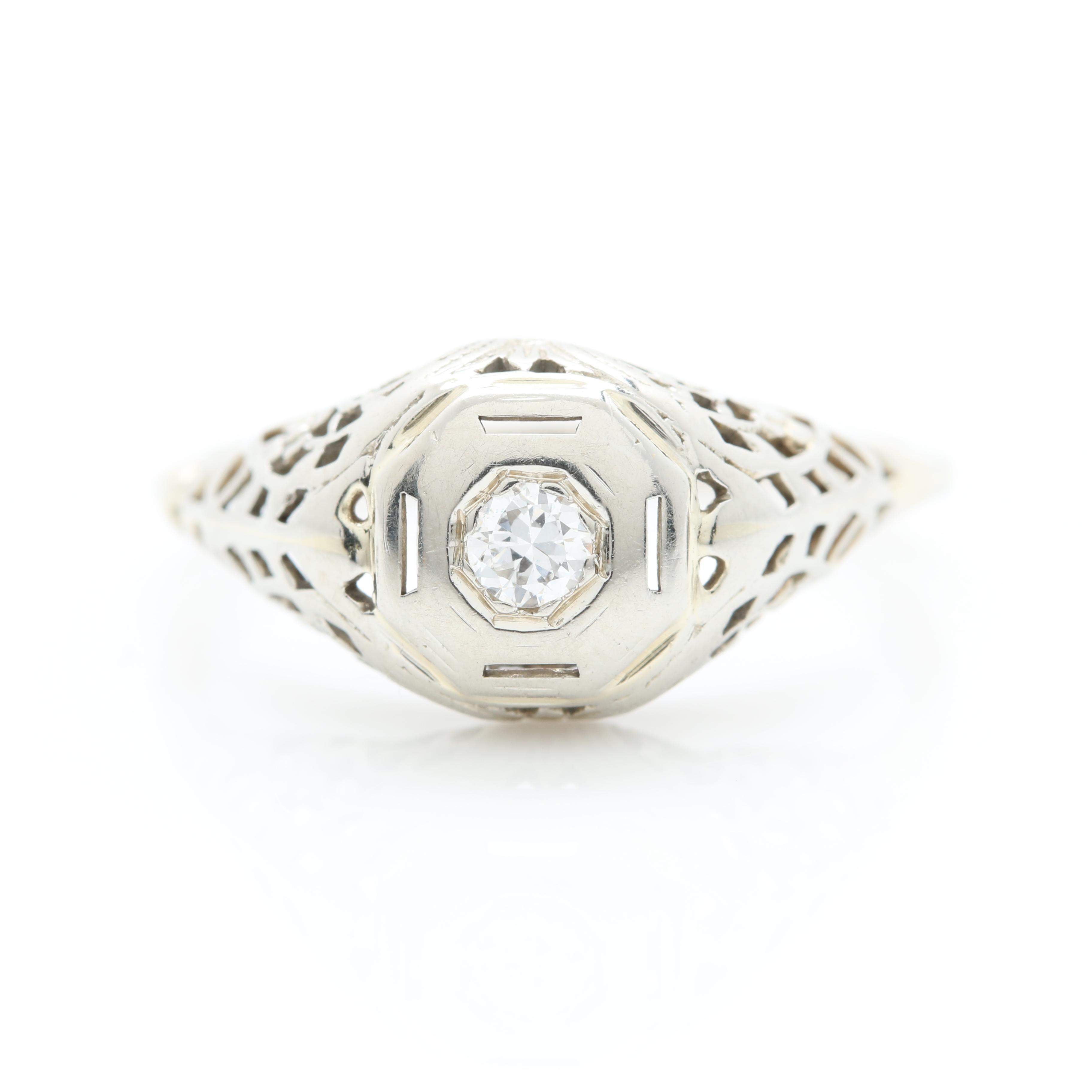 Edwardian 14K and 18K White Gold Diamond Ring