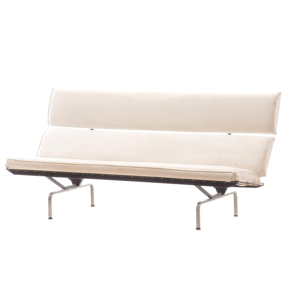 Mid Century Modern White Vinyl Sofa