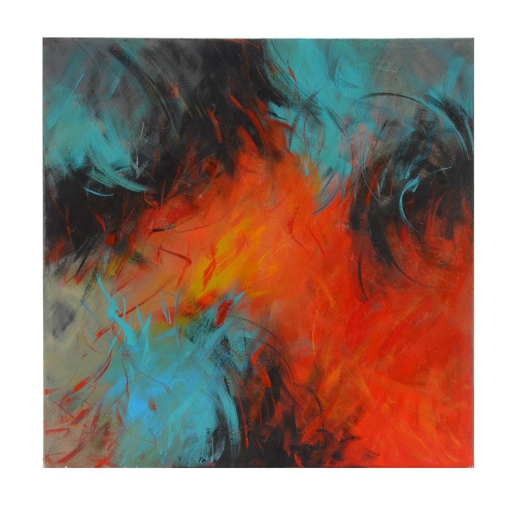 """Sanna Original Abstract Painting """"Moving Forward"""""""