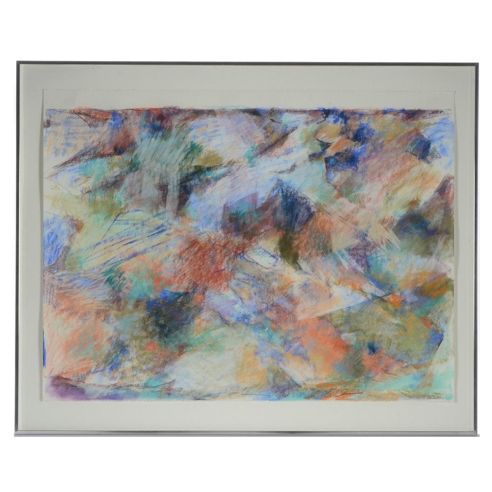 Anne Scheid Mango Original Abstract Pastel Drawing on Paper