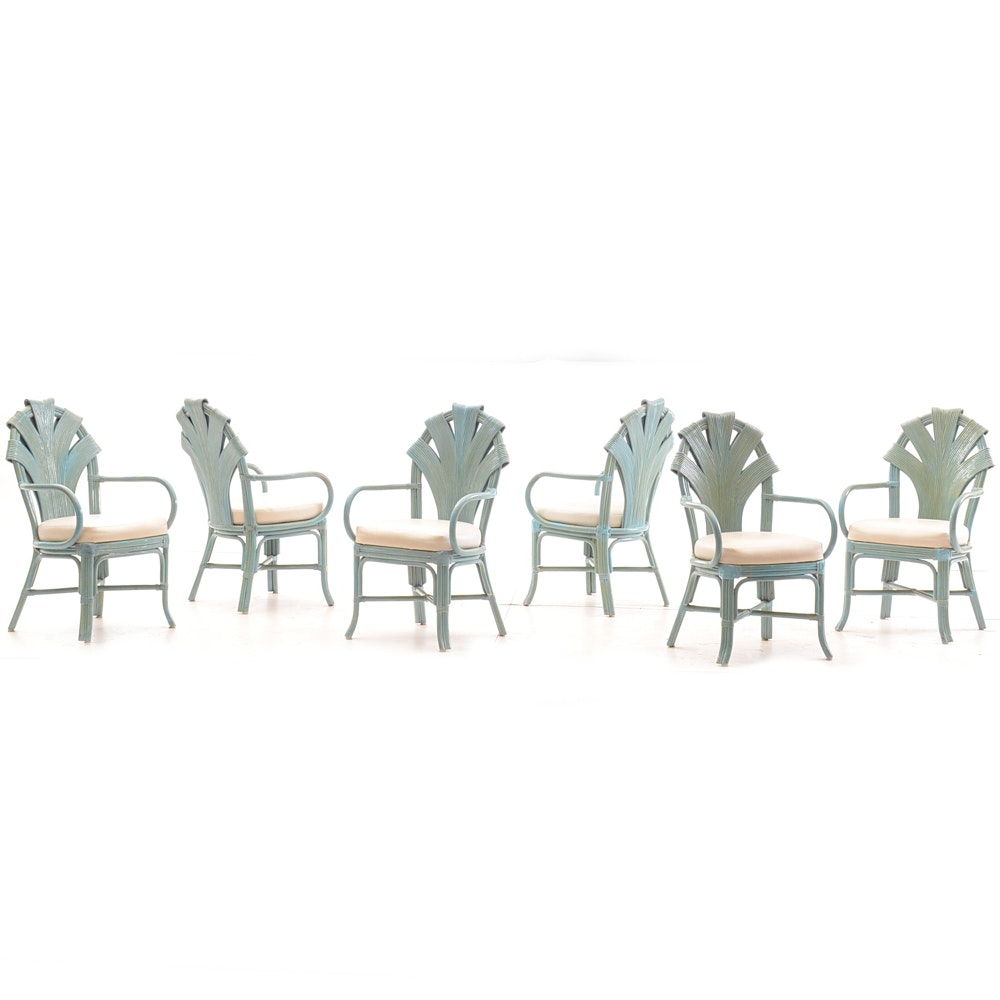 Set of Blue Wicker Dining Chairs