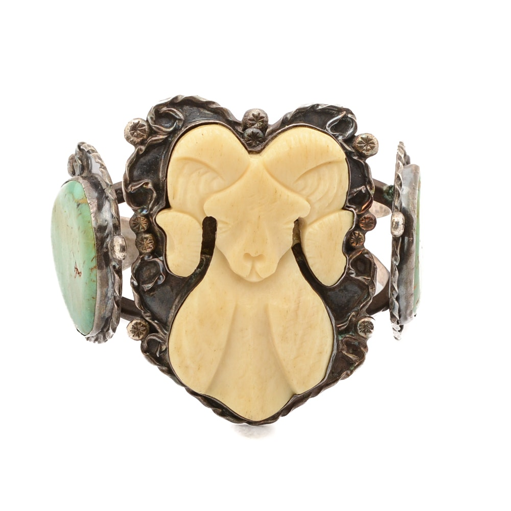 Sterling Silver Carved Bone and Turquoise Cuff Bracelet