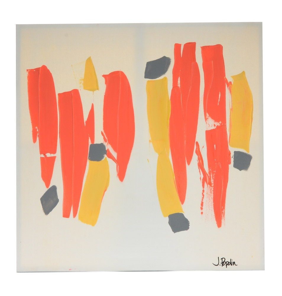 """J. Popolin Abstract Acrylic Painting """"Orange, Yellow, and Gray"""""""
