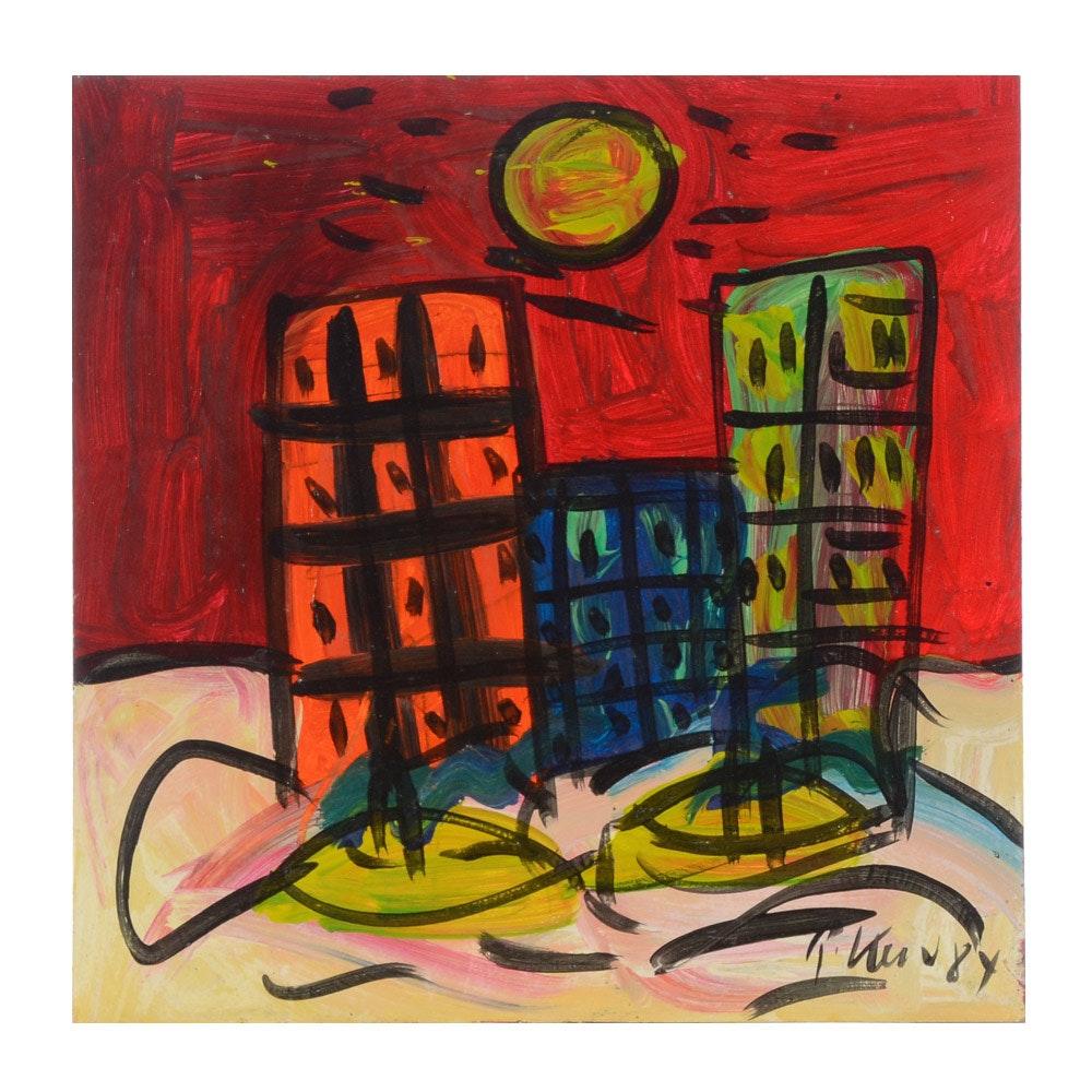 """Peter Robert Keil Vintage Oil Painting on Board """"Manhattan"""""""