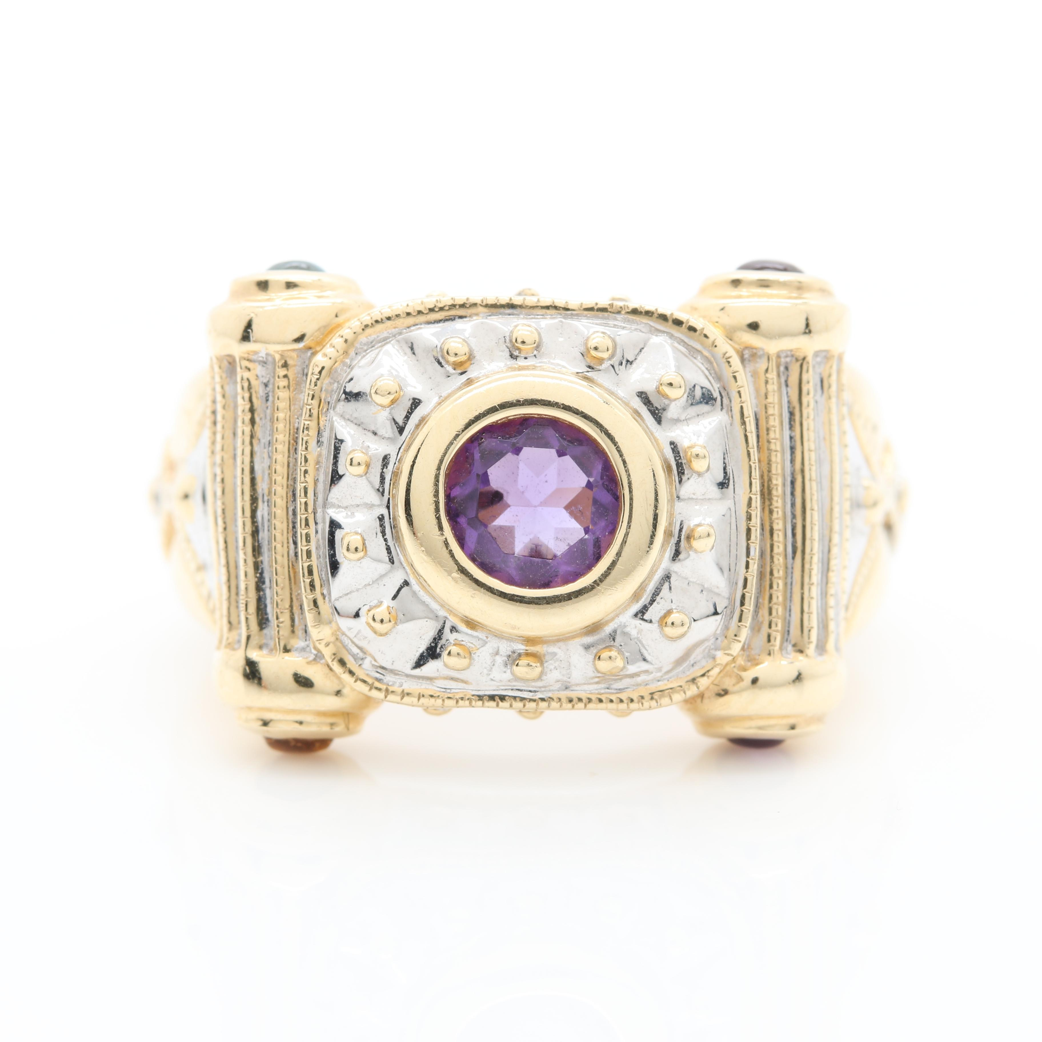 14K Yellow Gold Amethyst and Gemstone Ring With White Gold Accents