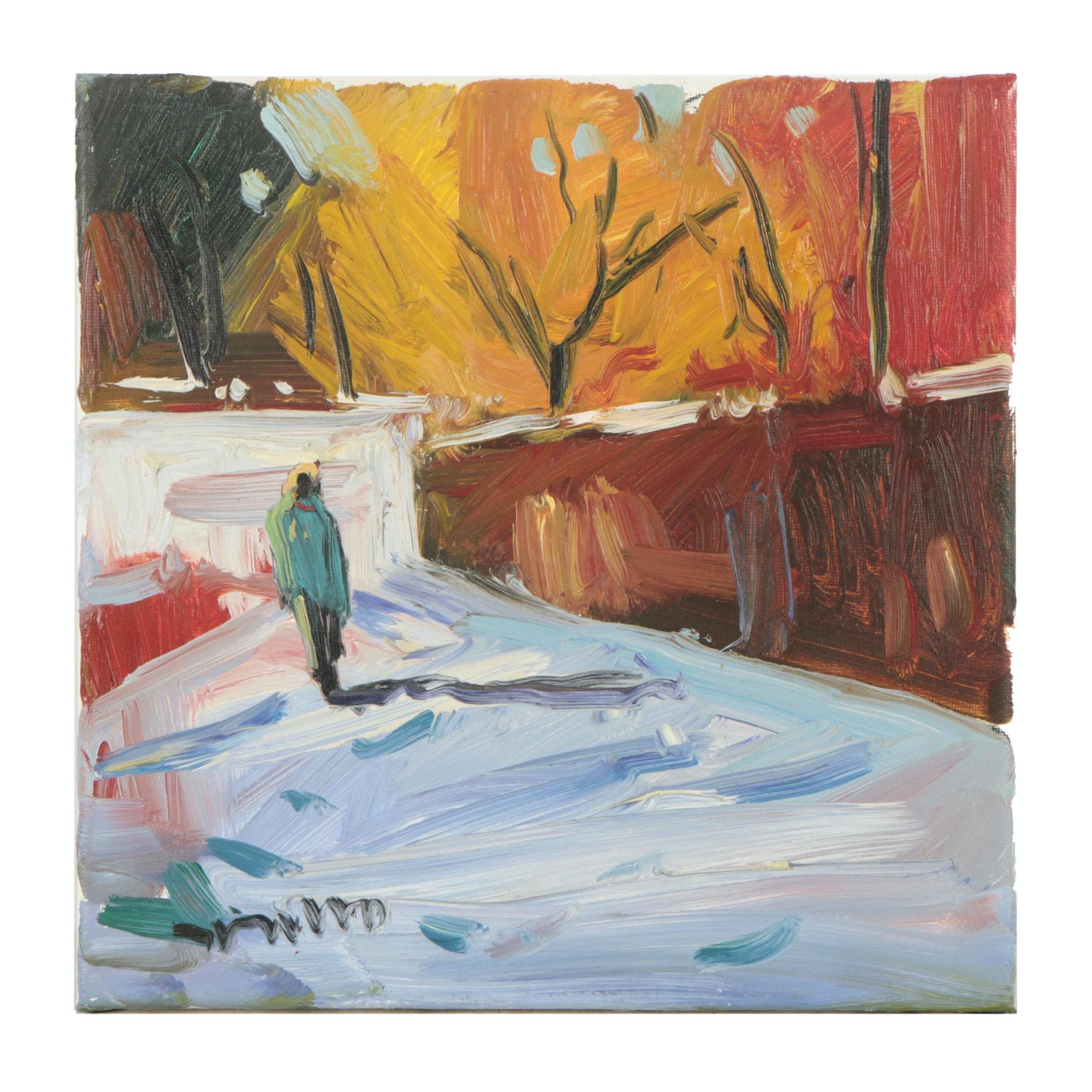 "Jose Trujillo Oil Painting ""Early Walk"""