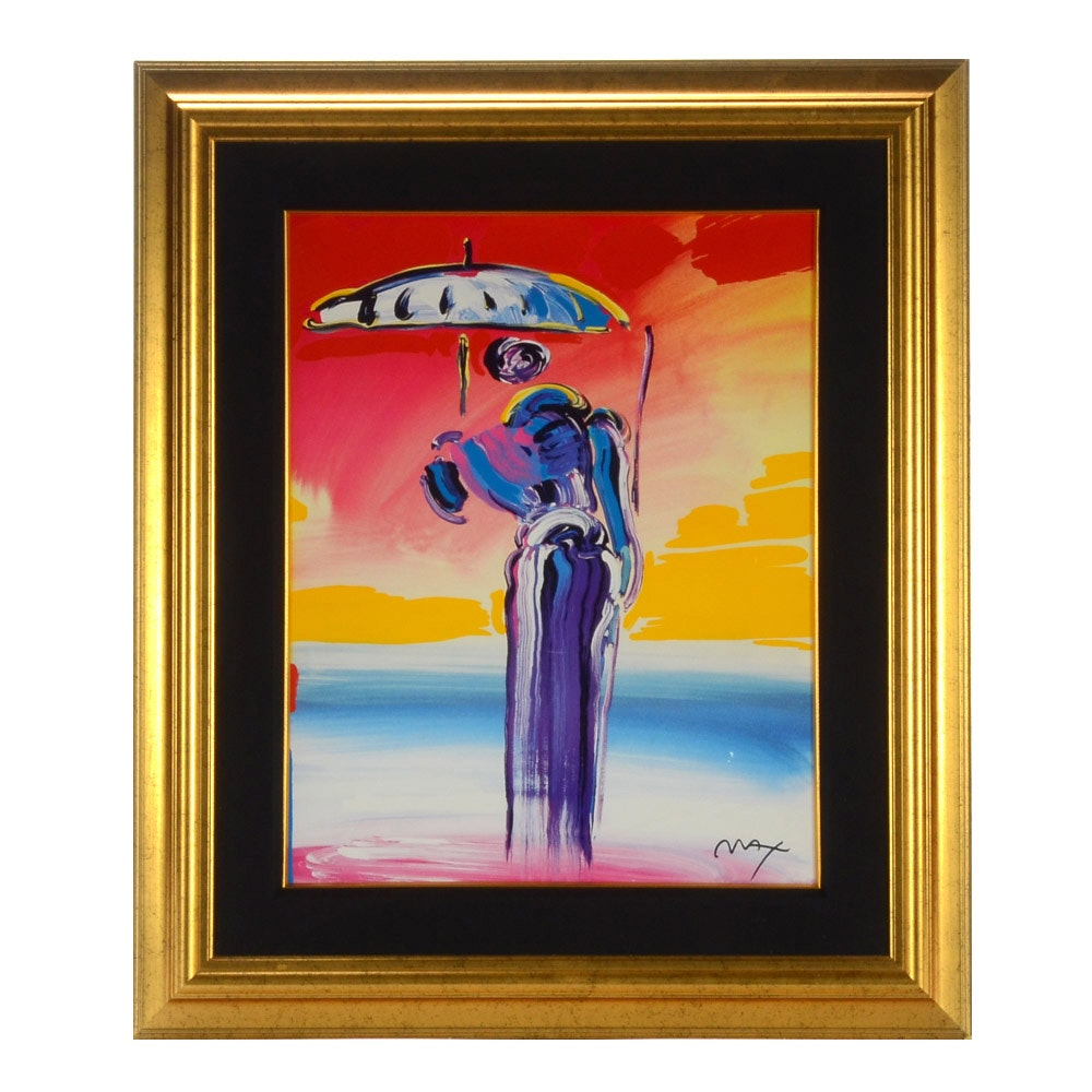 """Peter Max Limited Edition Seriolithograph """"Umbrella Man with a Cane"""""""