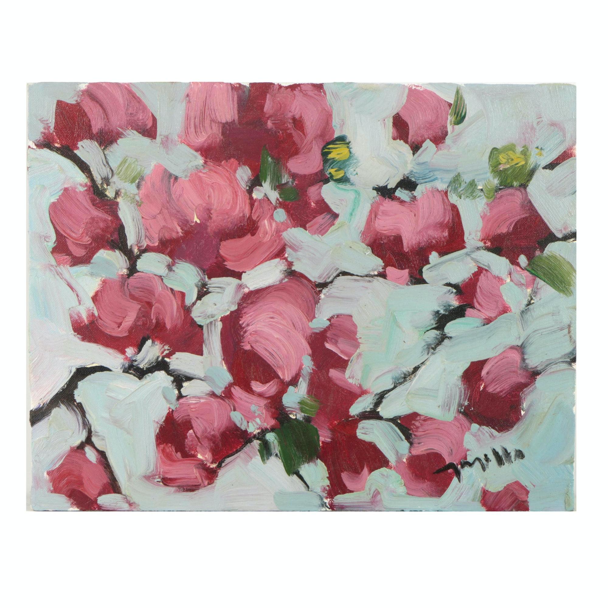 "Jose Trujillo Oil Painting ""Bougainvillea"""