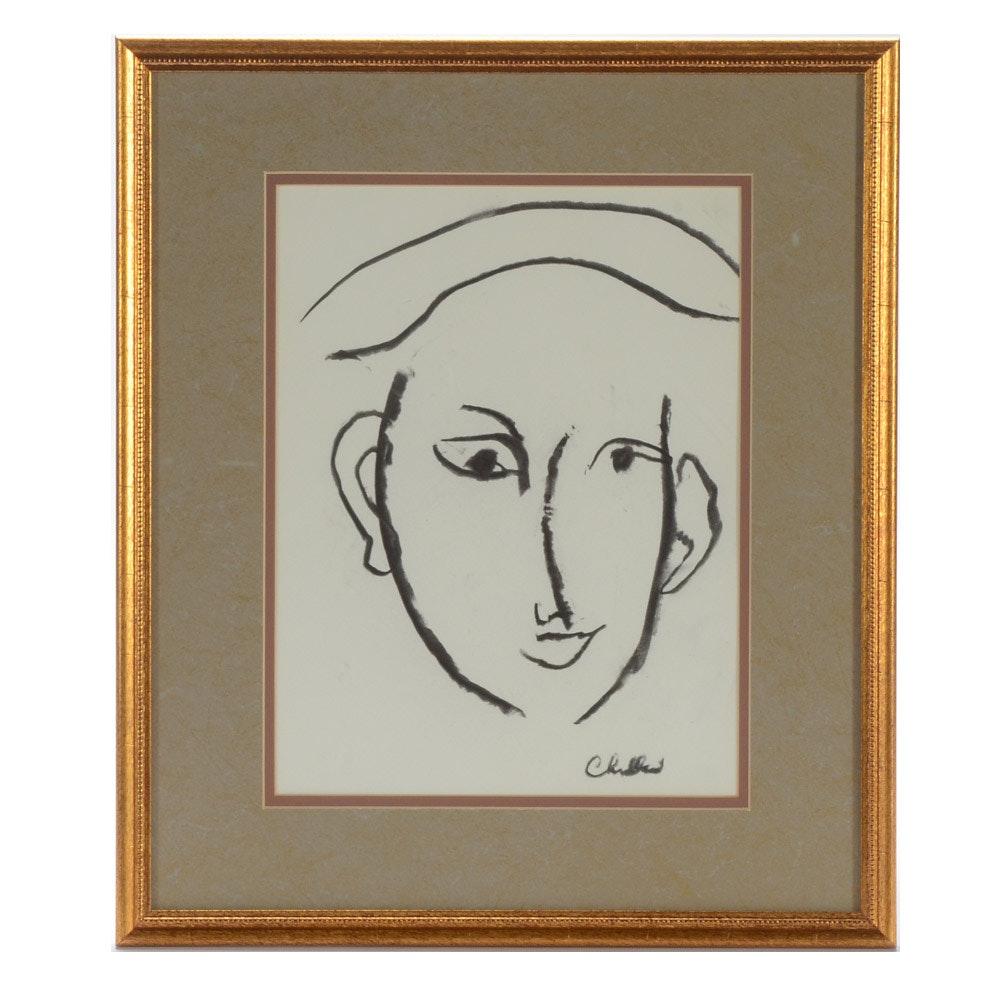 Paul Chidlaw Original Charcoal Portrait Drawing