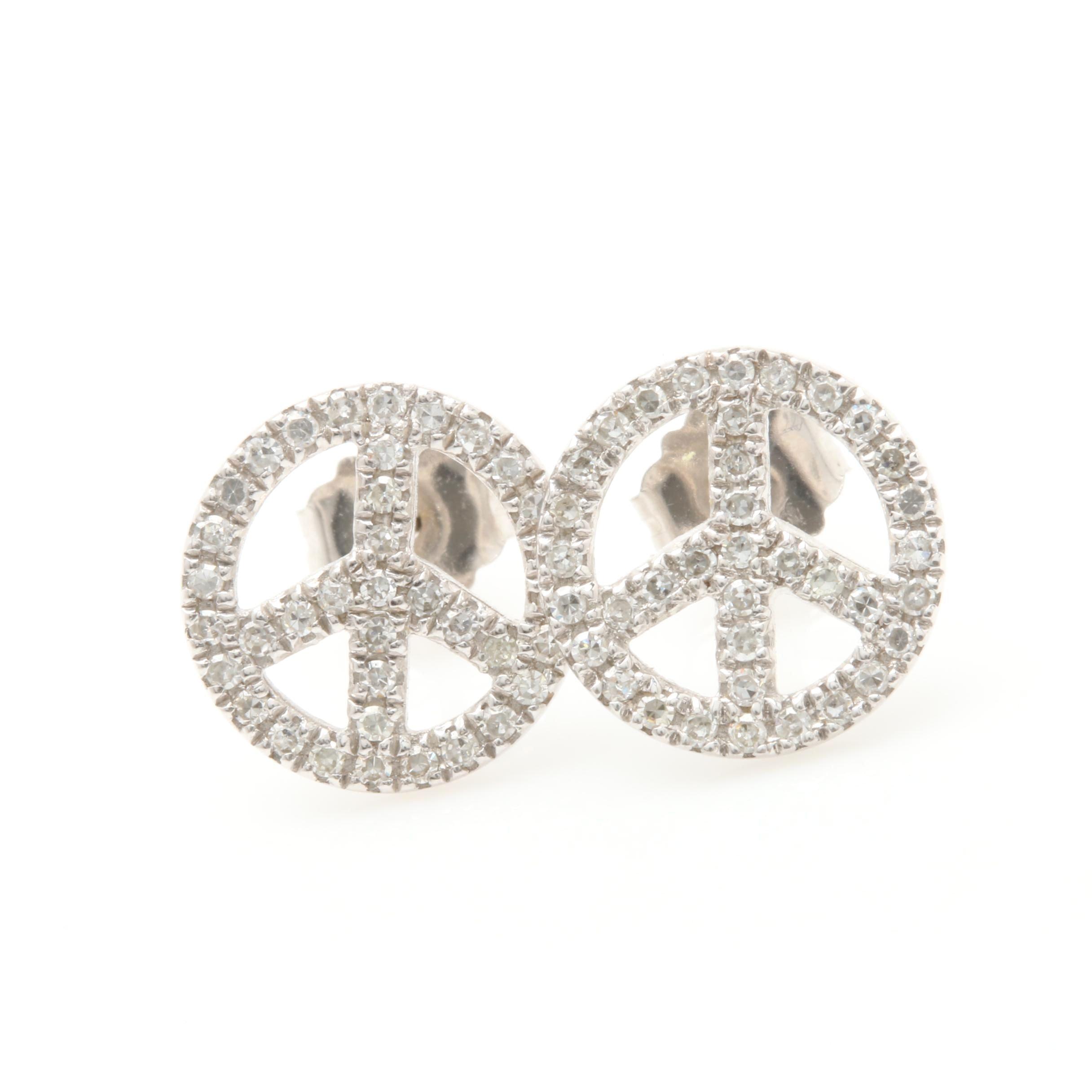 14K White Gold Diamond Peace Sign Stud Earrings
