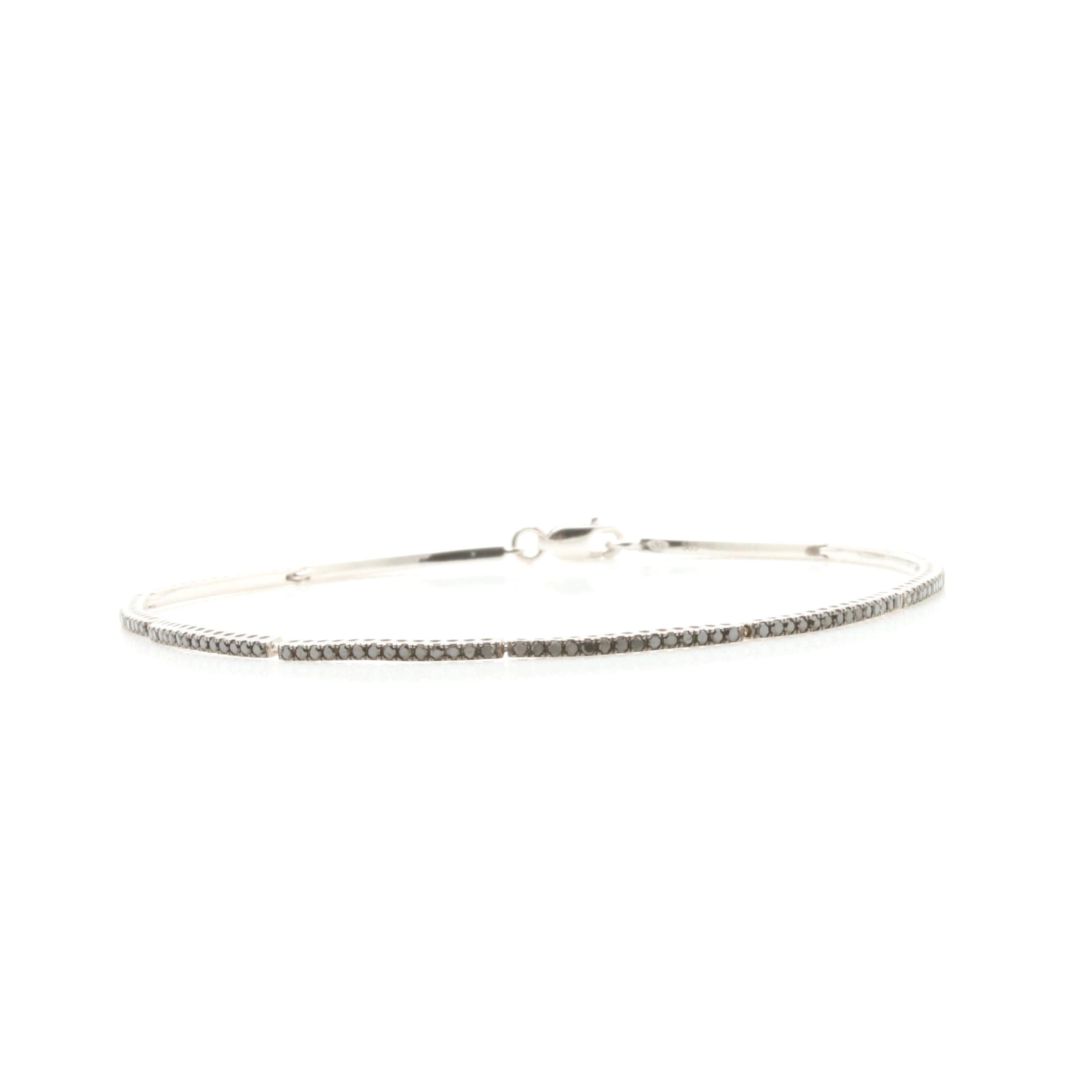 14K White Gold Black Diamond Bracelet