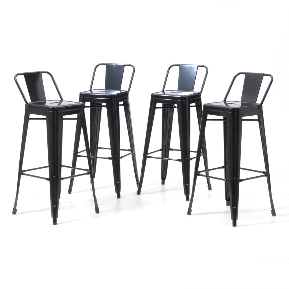 Modern Industrial Style Black Metal Bar Stools