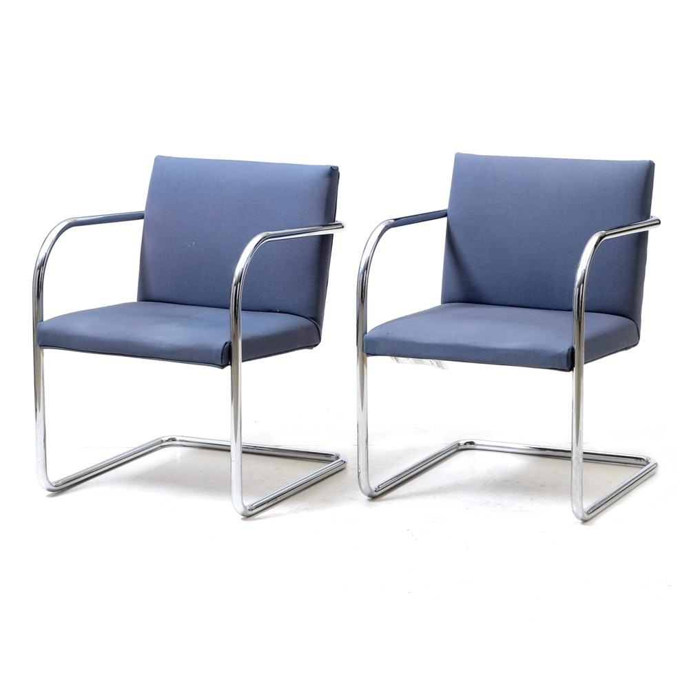 Mid Century Modern Mies Van der Rohe Style Cantilevered Chairs by Thonet