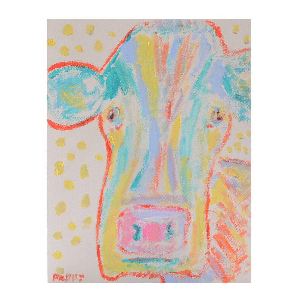 "Pappy B. Primitive Outsider Acrylic Painting ""Constance the Cow"""