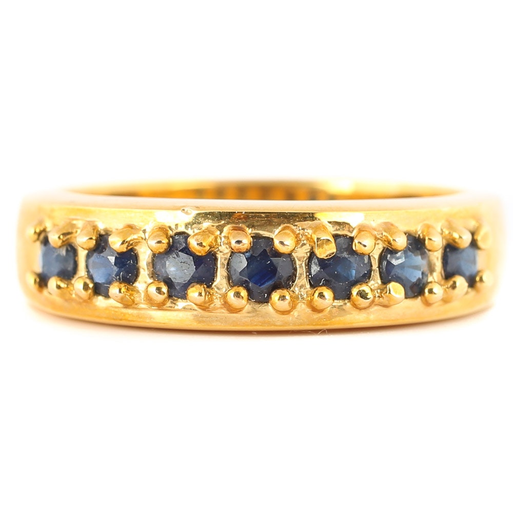 Gold Over Sterling Silver Sapphire Ring