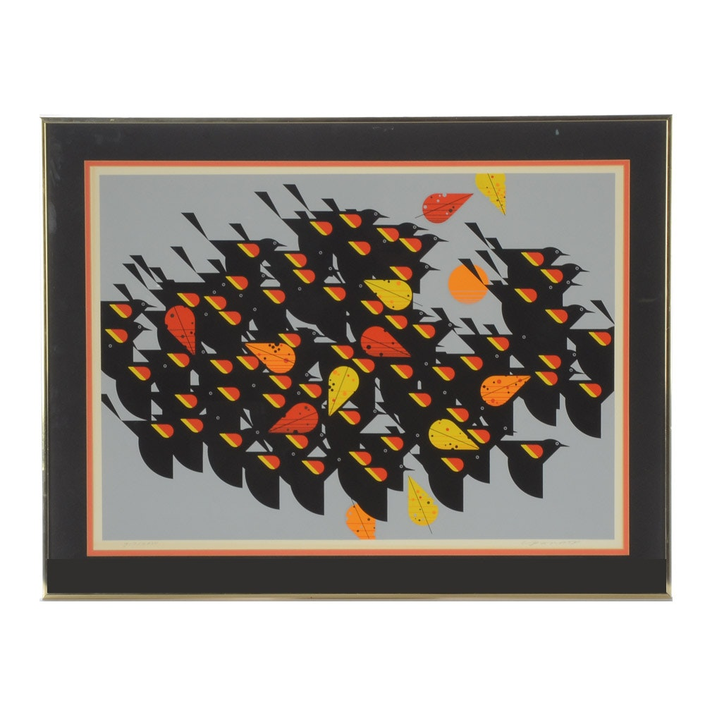 "Charley Harper Limited Edition Serigraph ""Birds of a Feather"""