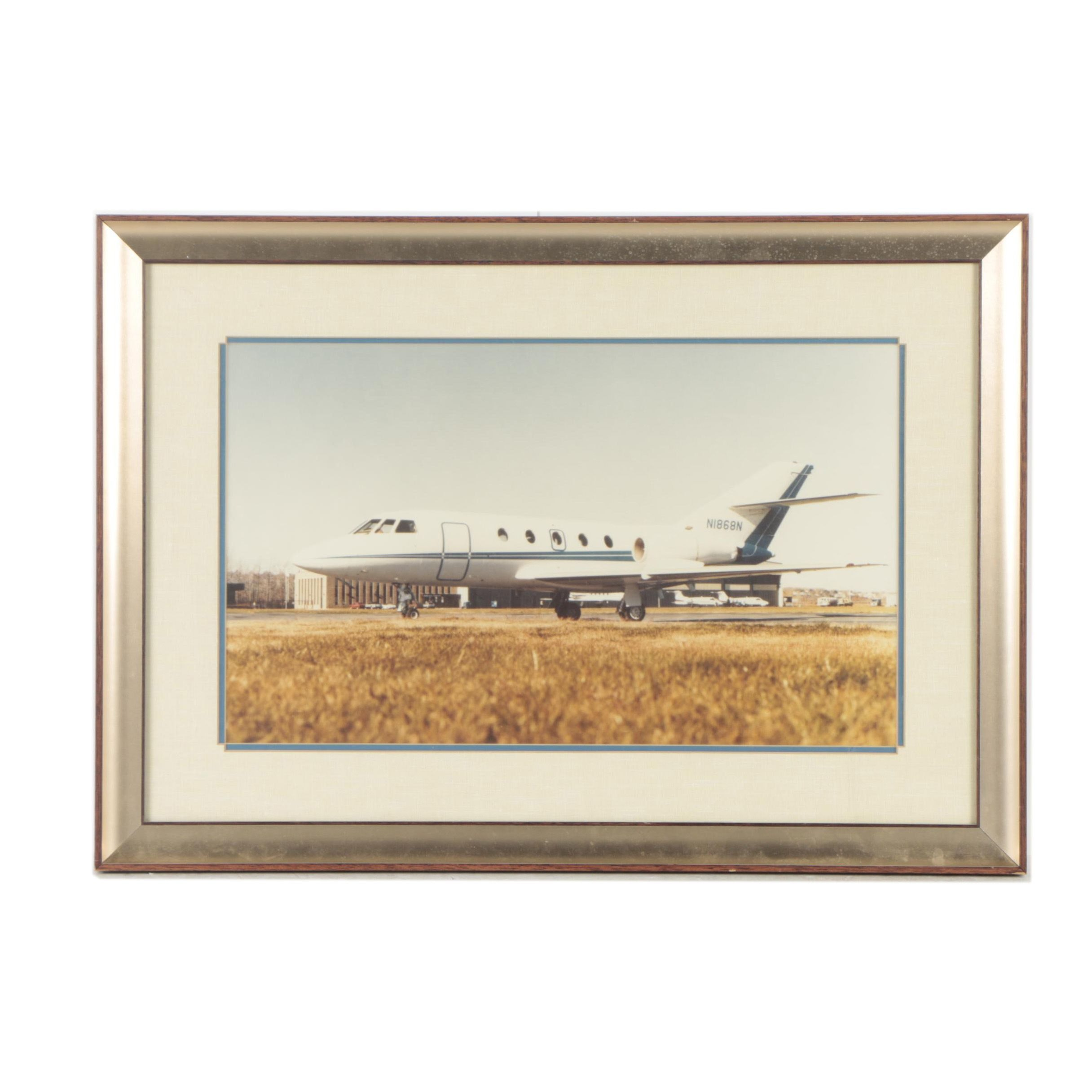 Circa 1980s Color Photograph of Private Jet