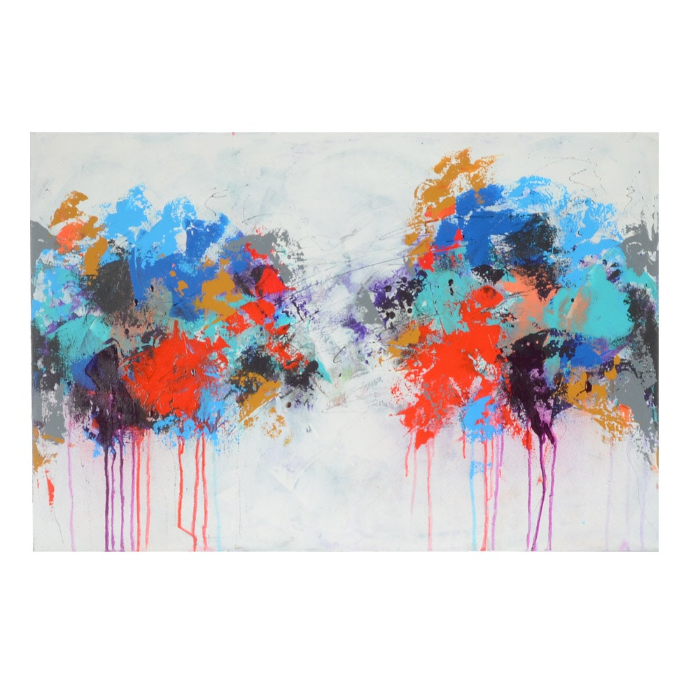 """Sanna Original Abstract Painting """"A Splash of Color"""""""