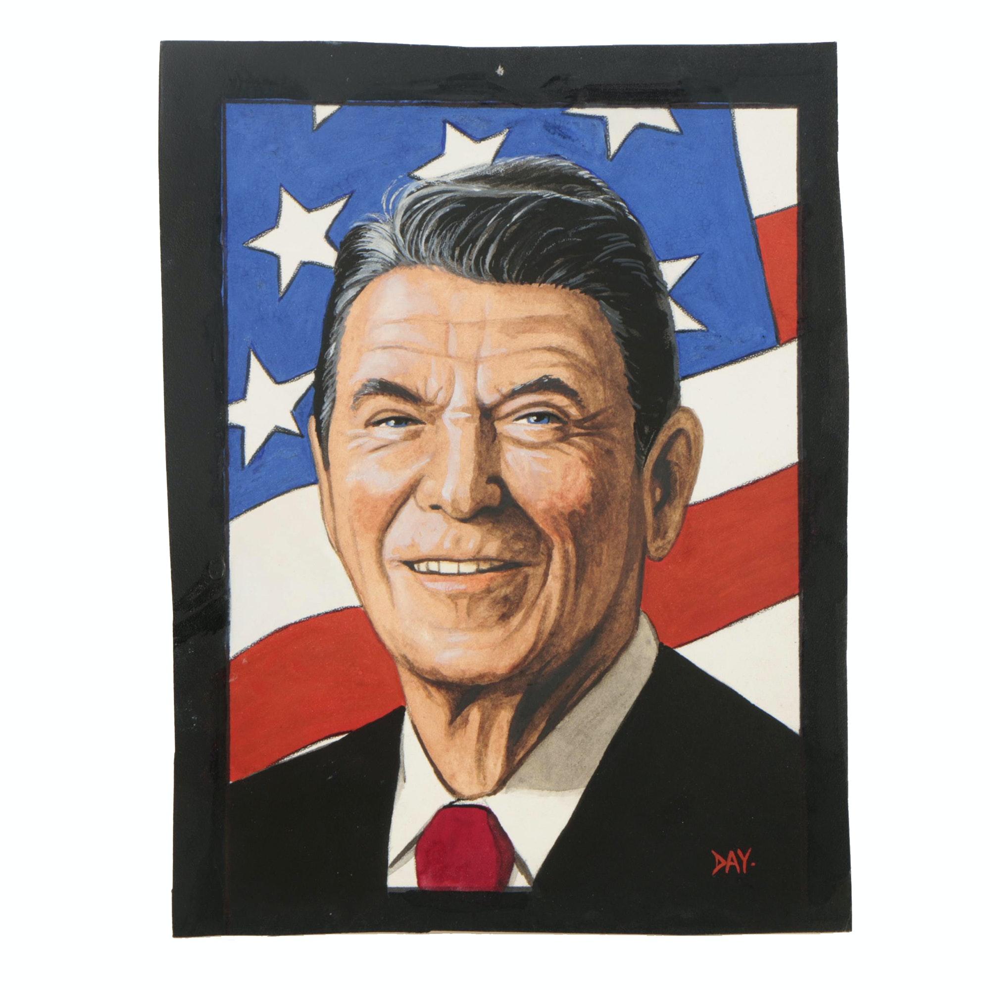 "David Day Gouache Painting ""Ronald Reagan"""