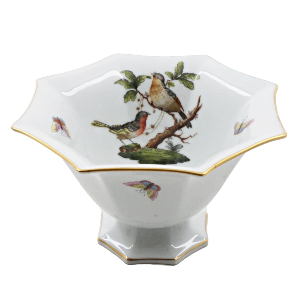 "Herend Hungary ""Rothschild Bird"" Footed Bowl"