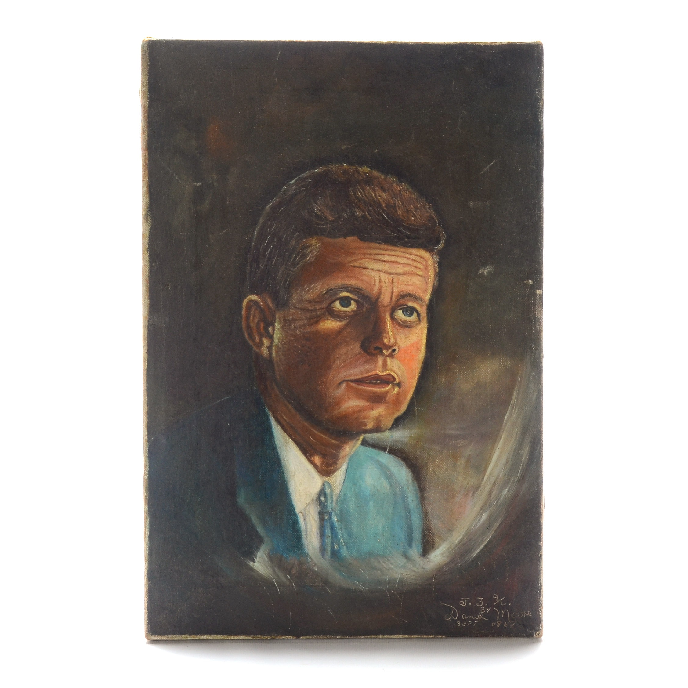 Daniel Moore Signed 1967 Oil Painting on Canvas of John F. Kennedy