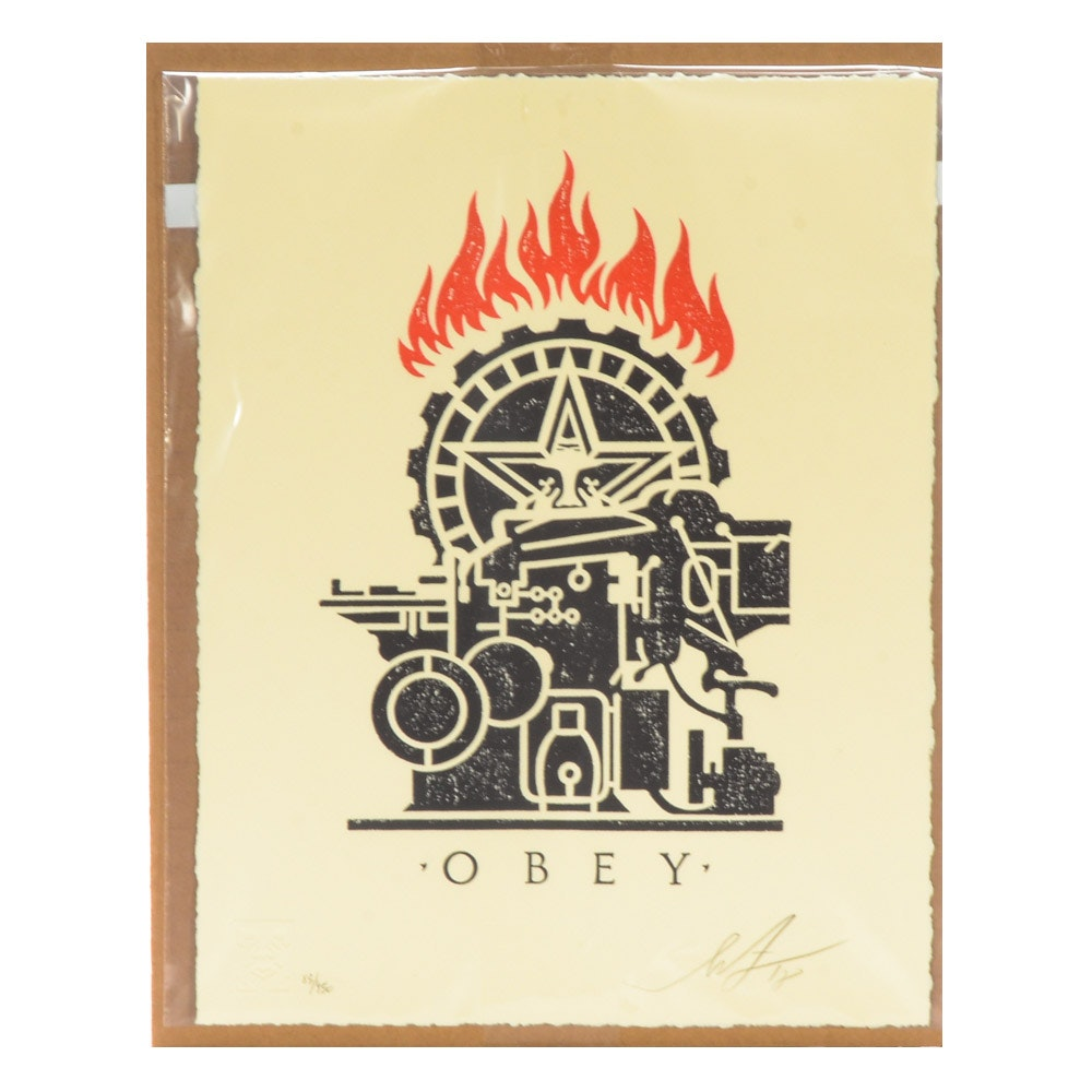 """Shepard Fairey Signed Limited Edition Letterpress Print """"Obey"""""""