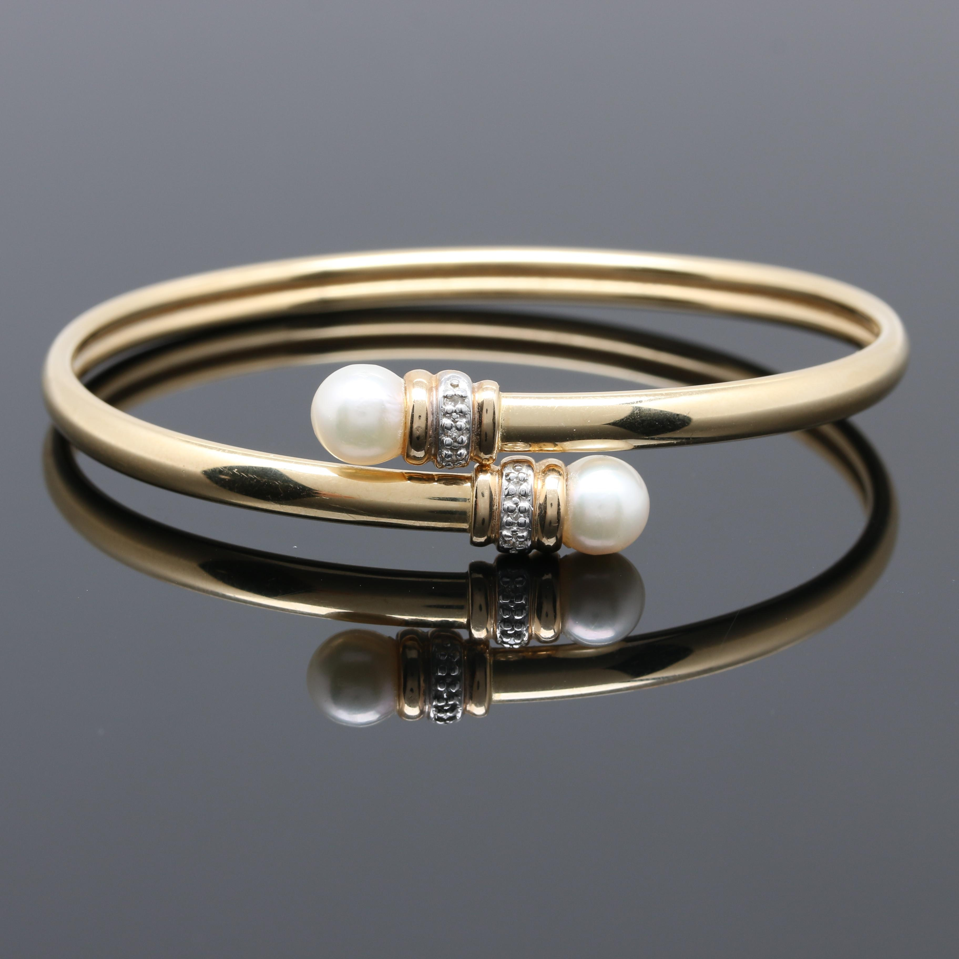 14K Yellow Gold Cultured Pearl and Diamond Bypass Bangle