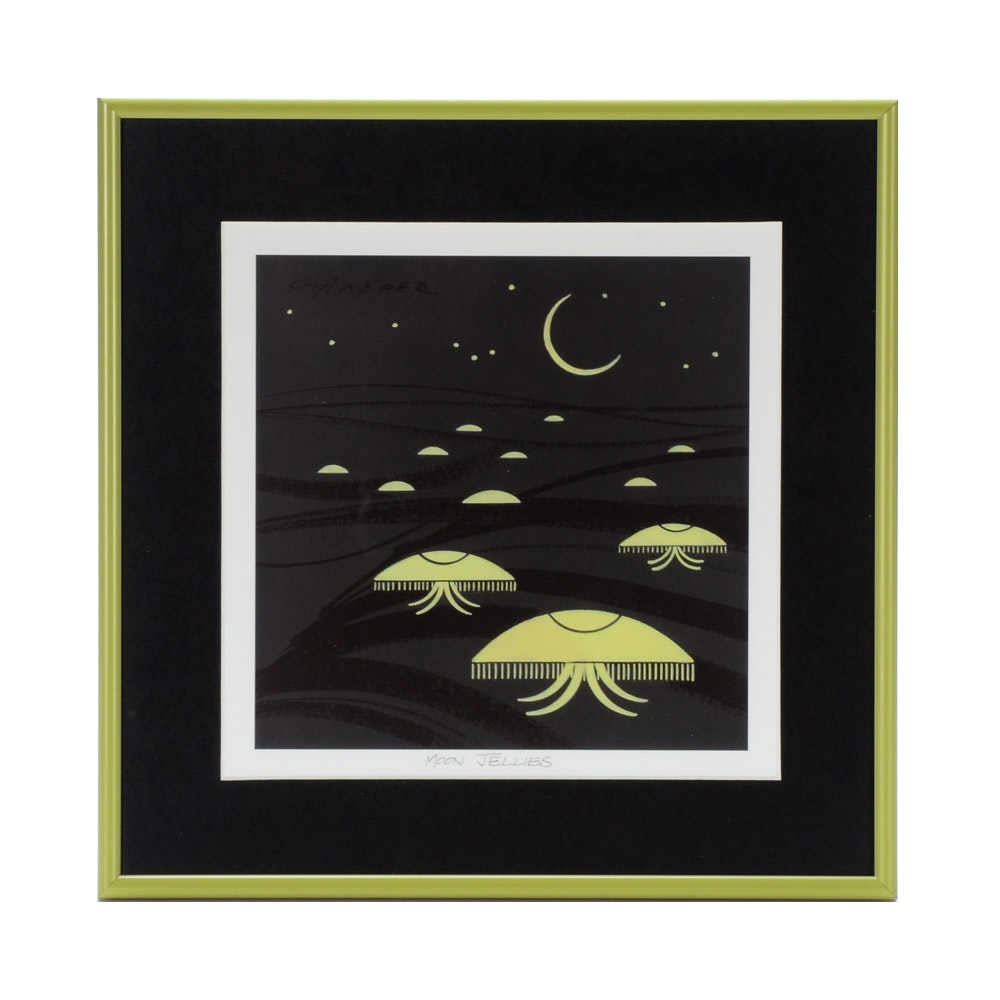"Charley Harper Offset Lithograph ""Moon Jellies"""
