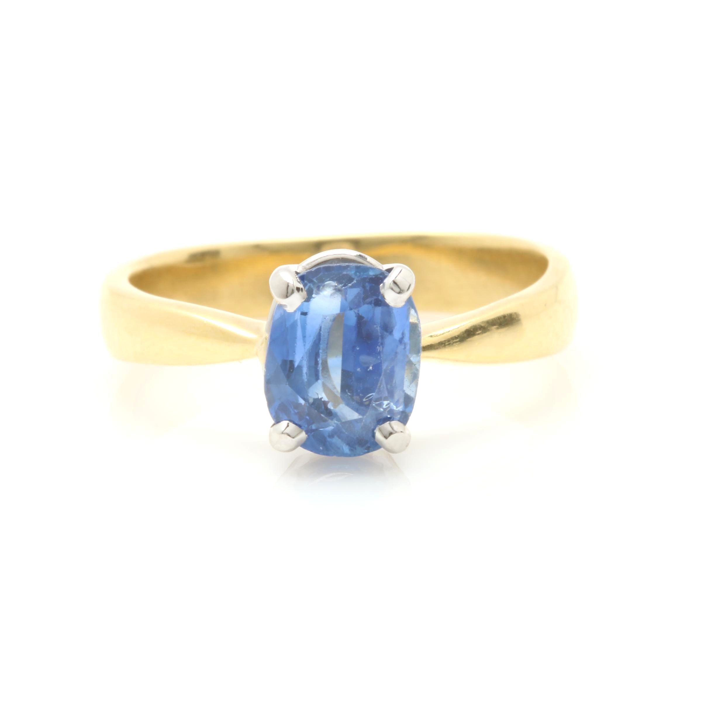 18K Yellow Gold 1.37 CT Blue Sapphire Ring