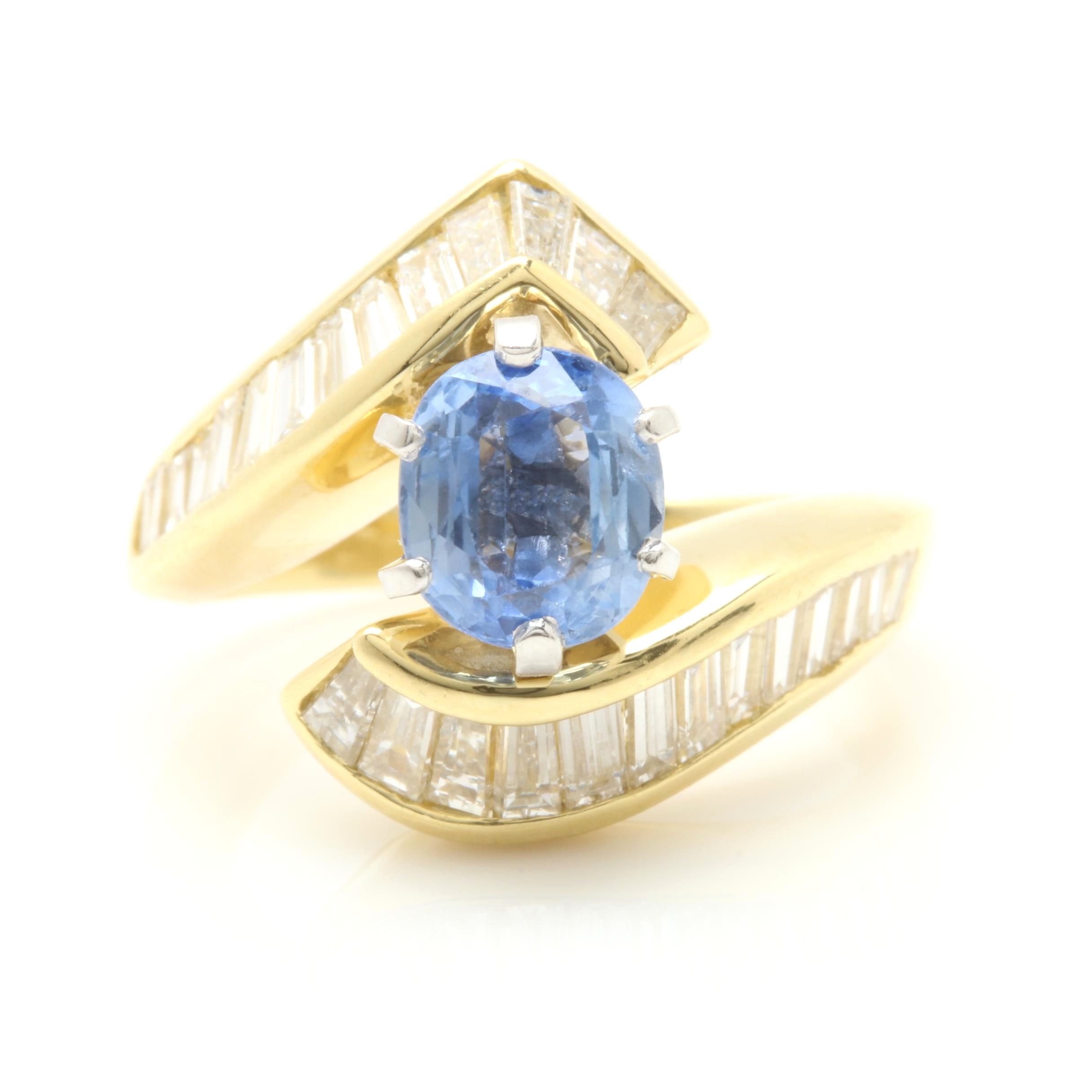 18K Yellow Gold 1.05 CT Blue Sapphire and 1.75 CTW Diamond Bypass Ring