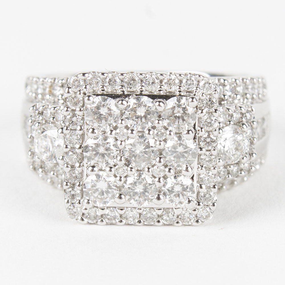 14K White Gold 1.86 CTW Diamond Wedding Ring