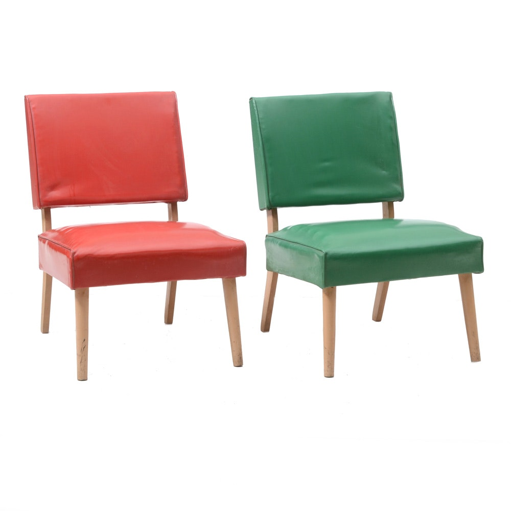 Pair of Mid Century Modern Chairs in Red