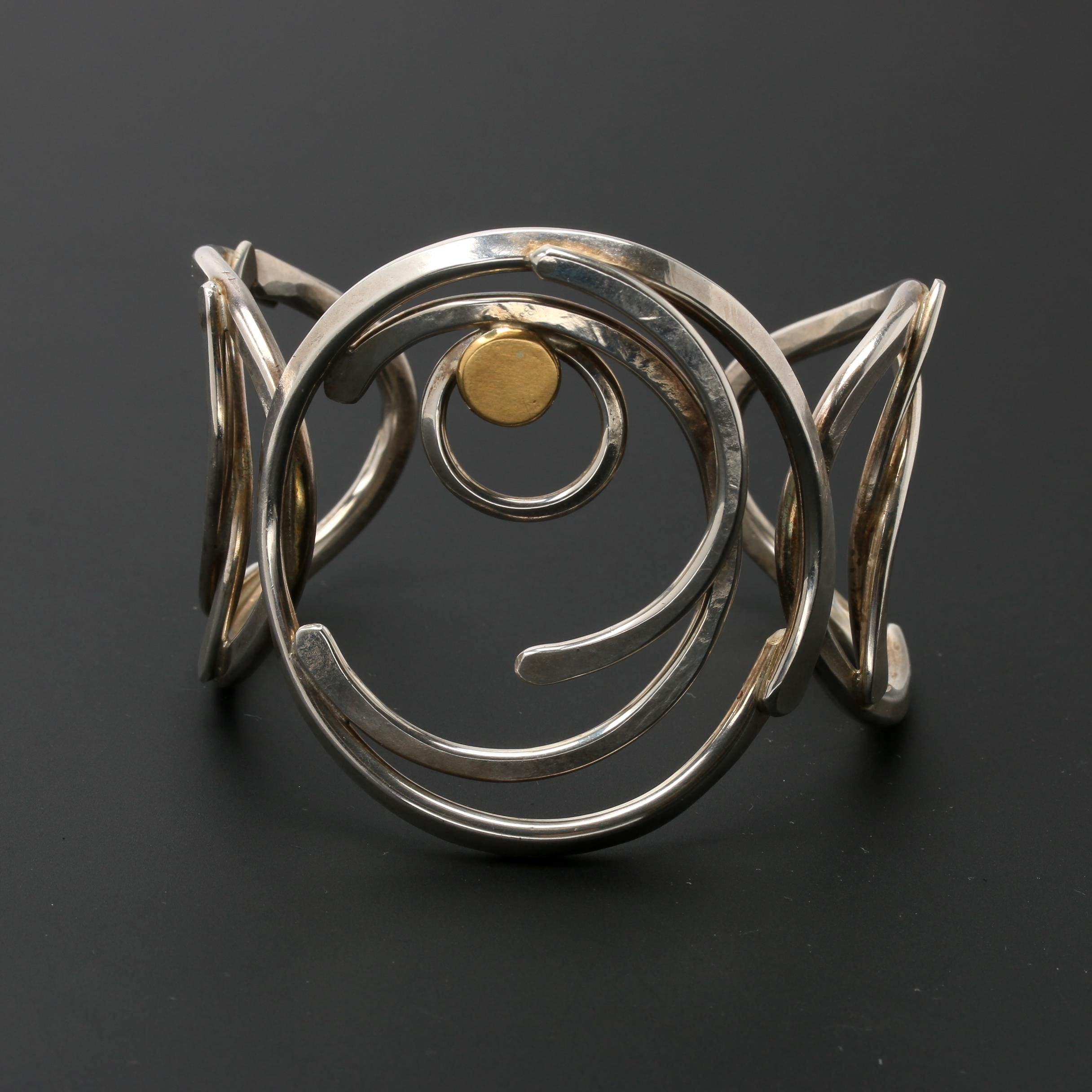 Sterling Silver Cuff Bracelet with 18K Gold Accent