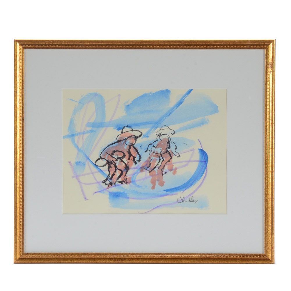 Paul Chidlaw Original Watercolor Painting on Paper of Figures