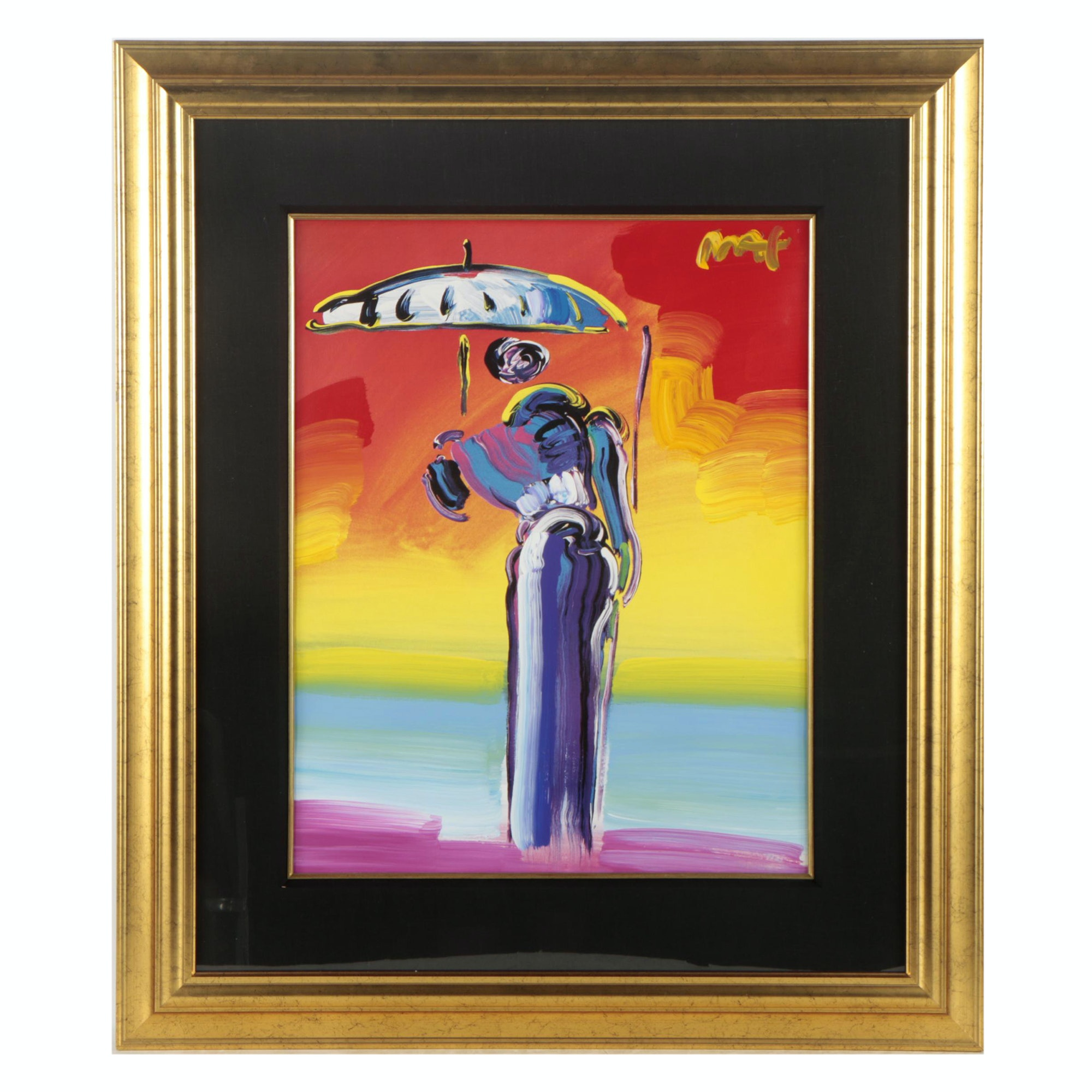"""Peter Max Embellished Offset Lithograph """"Umbrella Man with Cane"""""""