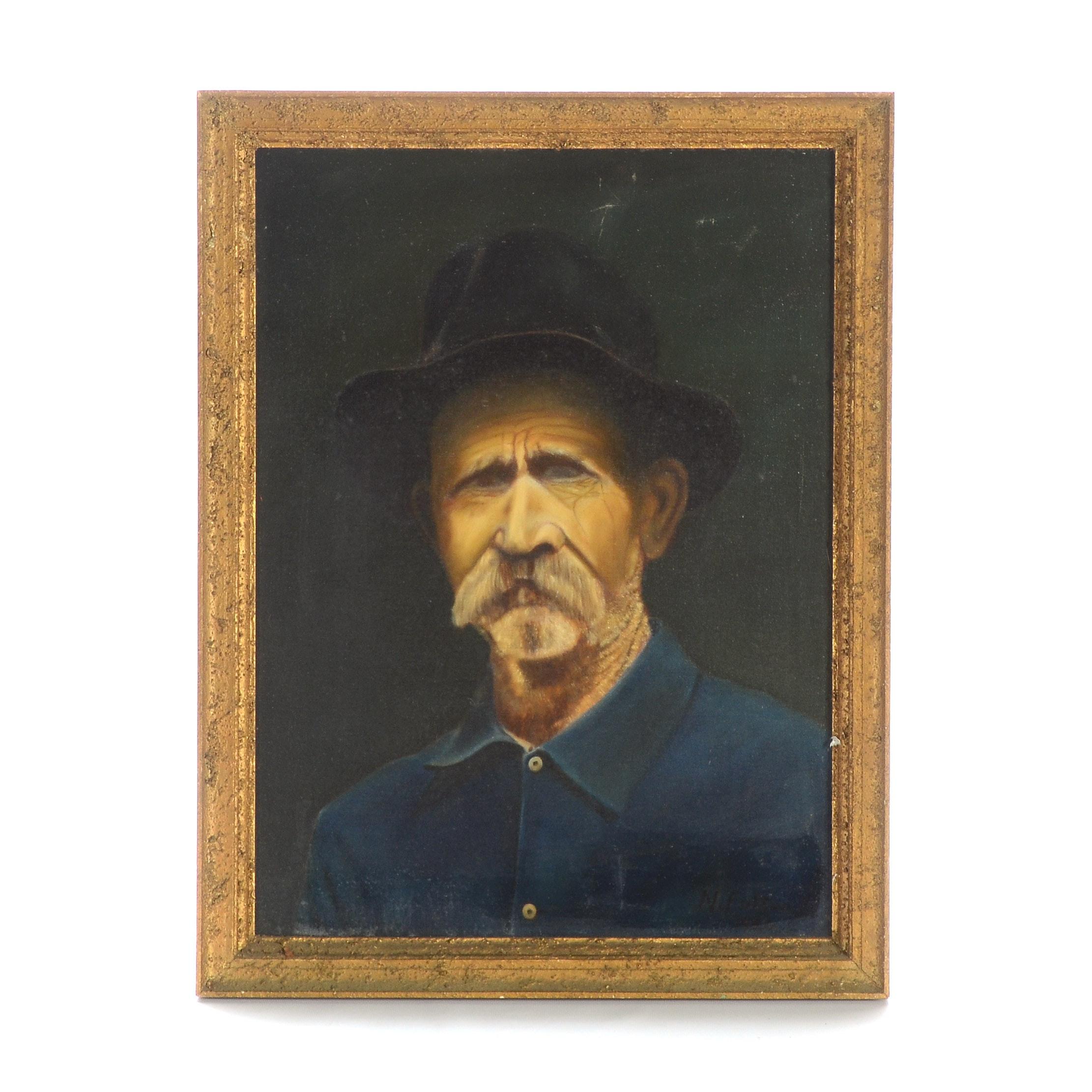 N. Fulton Original Vintage Oil on Canvas Portrait
