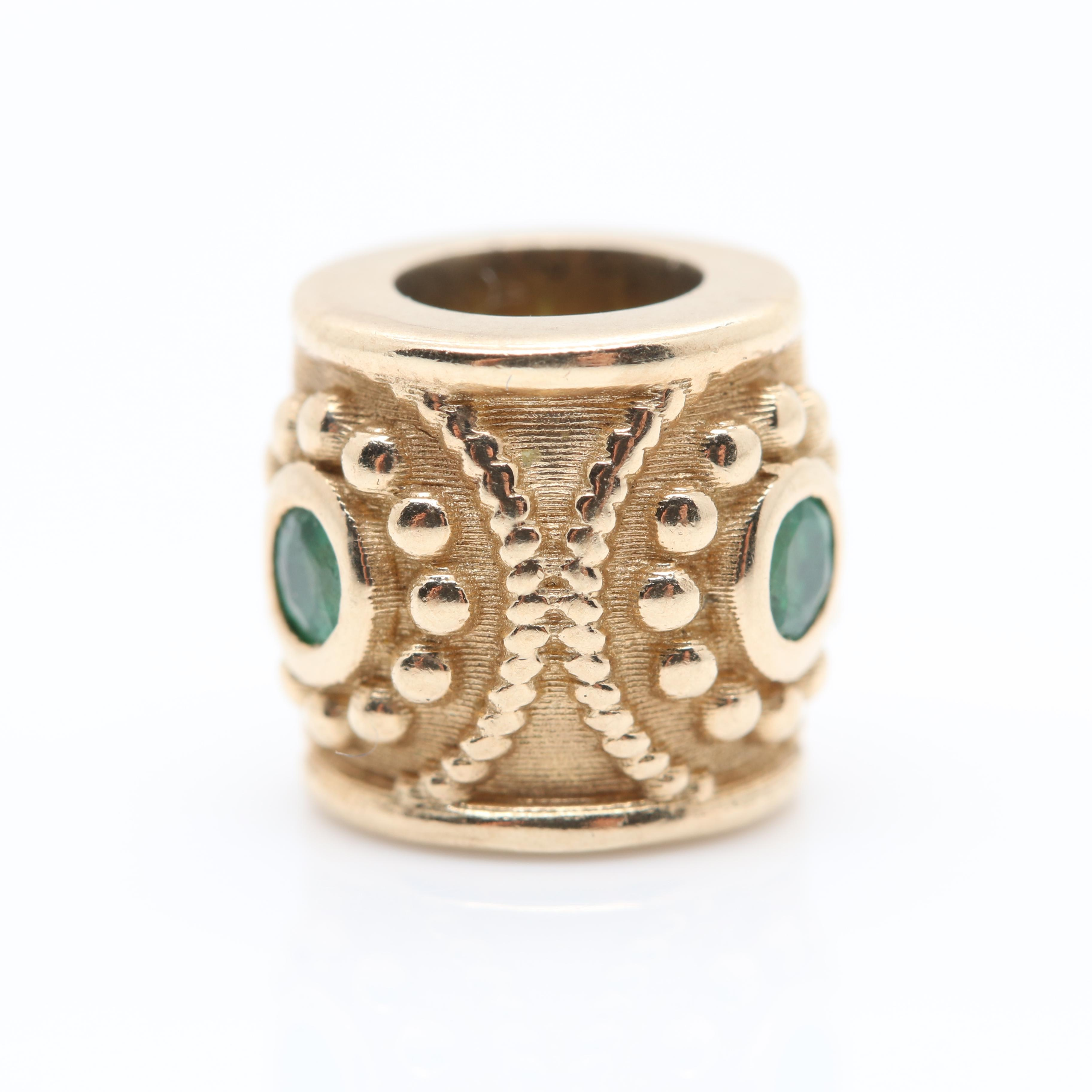 9K Yellow Gold Emerald Spacer Bead