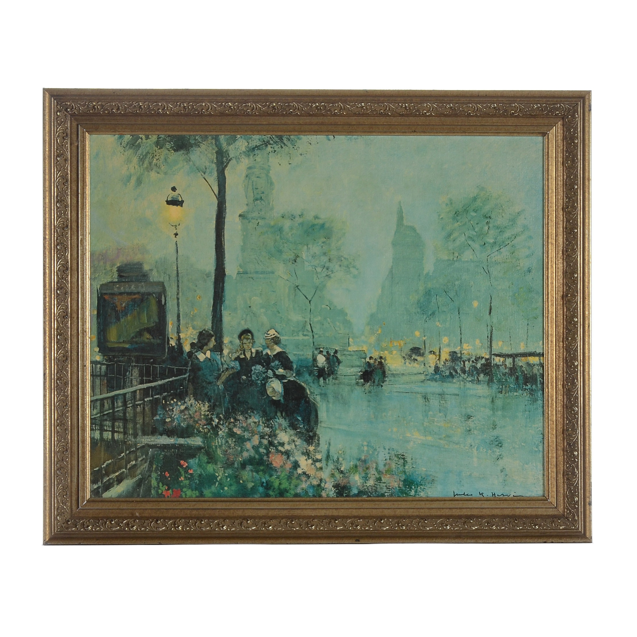 Large Offset Lithograph on Canvas of a Street Scene
