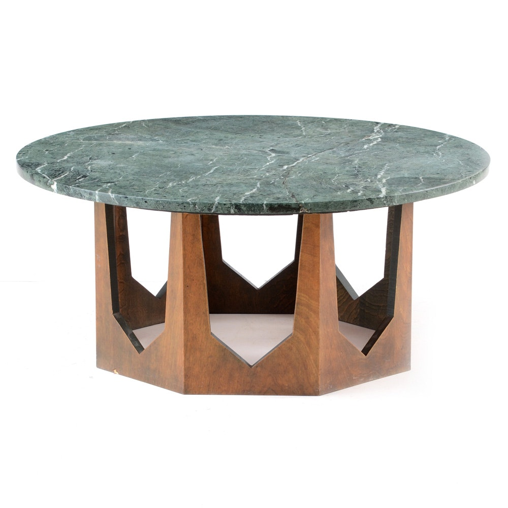 Mid Century Modern Green Marble Coffee Table ...