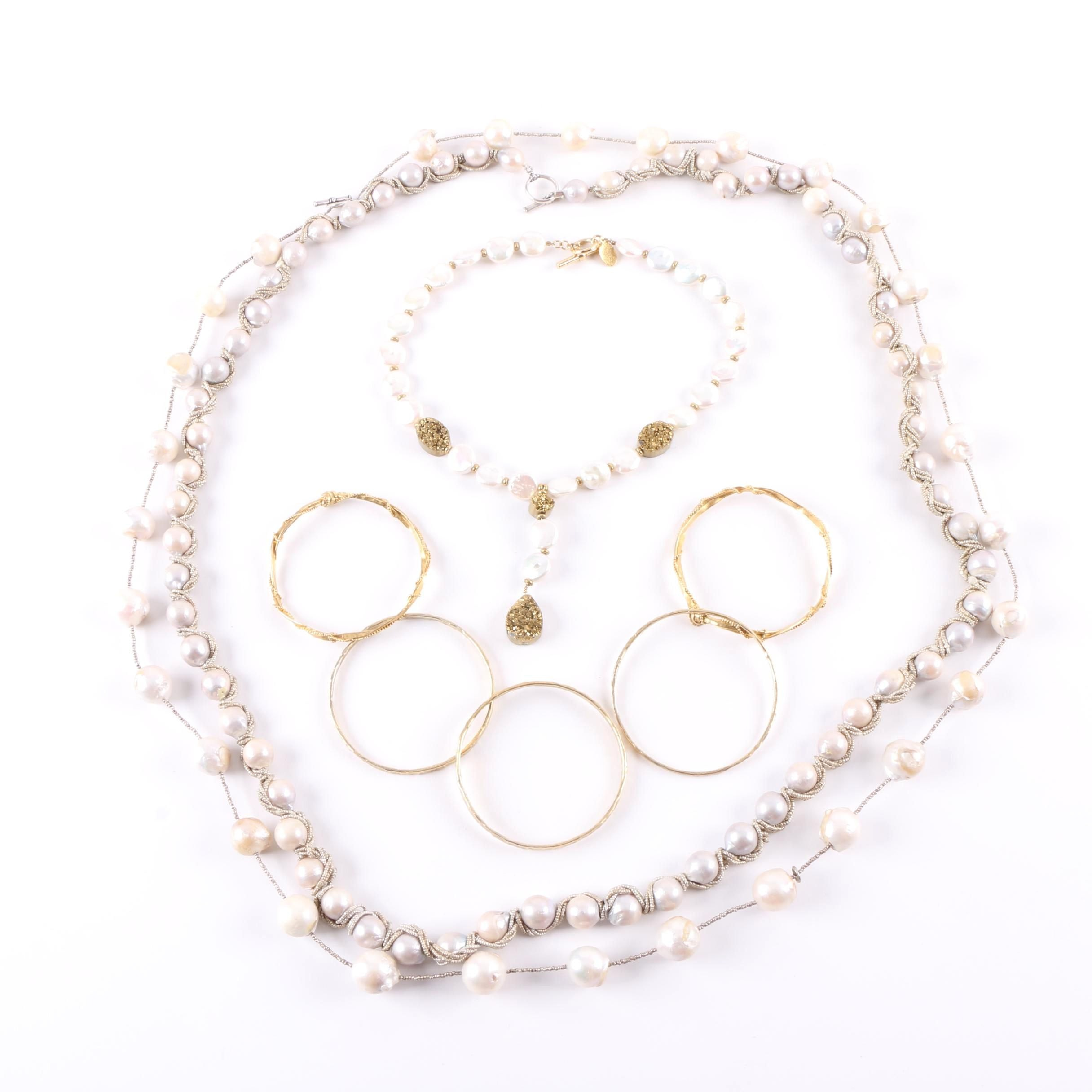 Sterling Silver and Gold-Tone Cultured Pearl and Druzy Jewelry Assortment