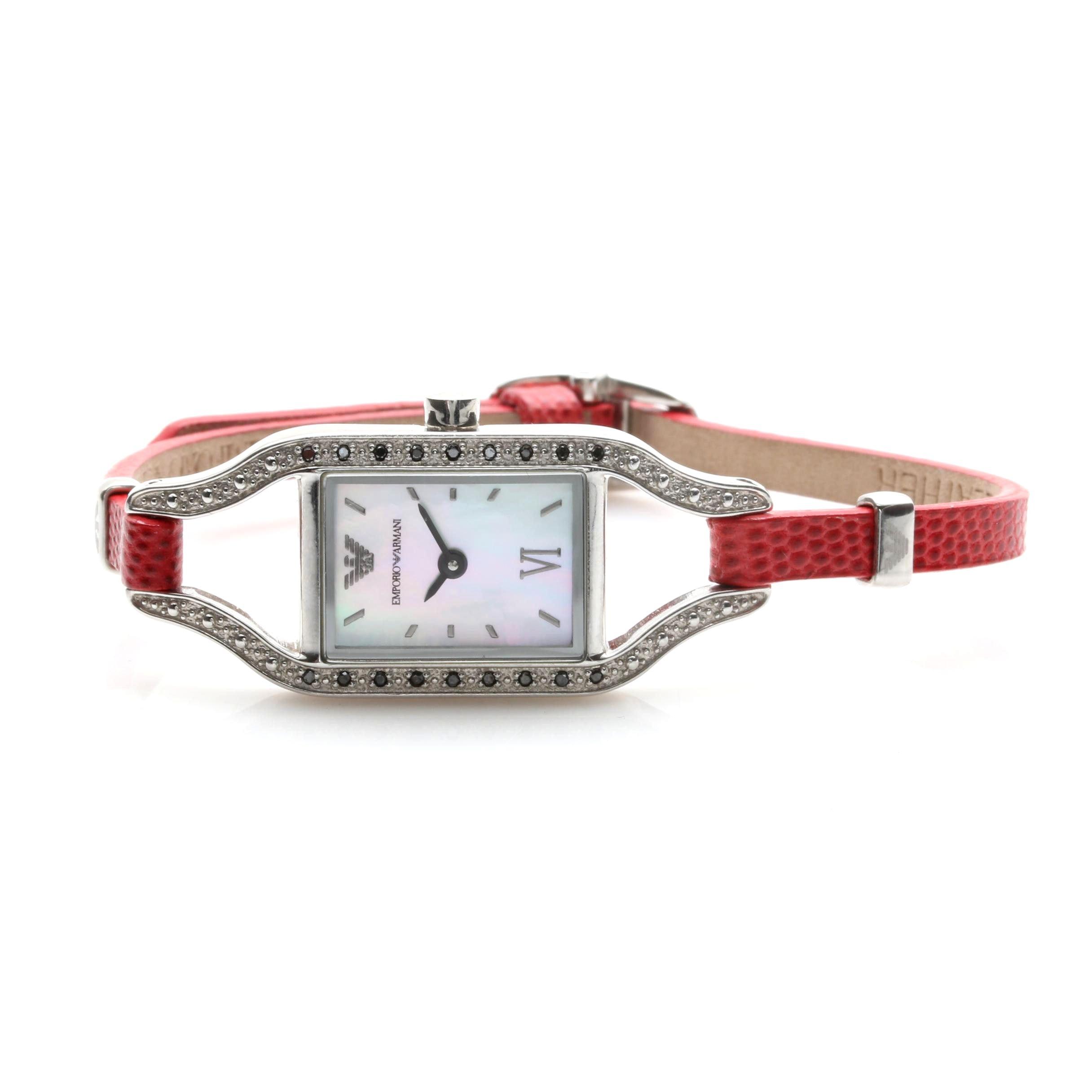 Emporio Armani Silver Tone and Diamond Accent Wristwatch